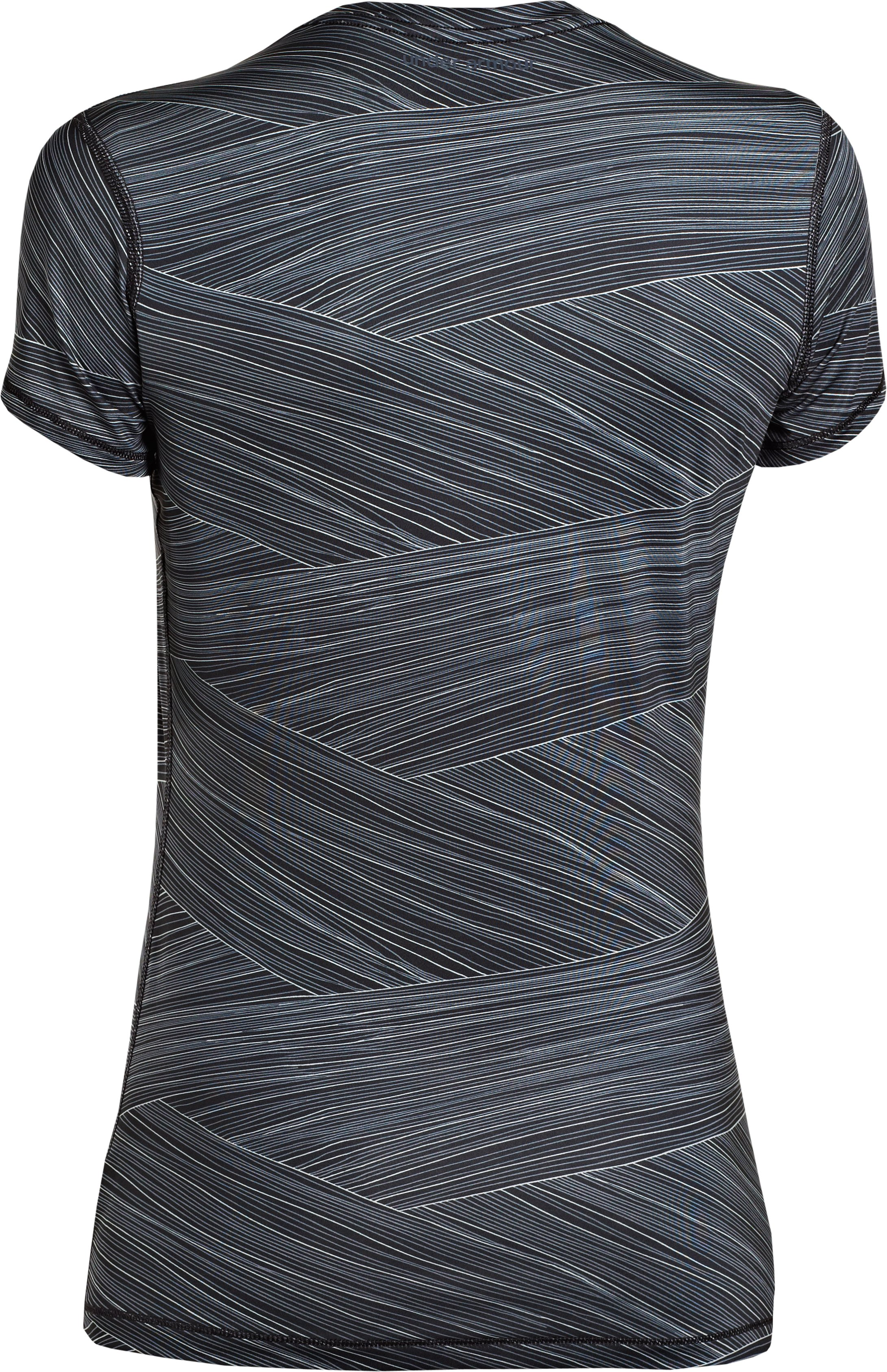 Women's HeatGear® Sonic Printed Short Sleeve, Black , undefined