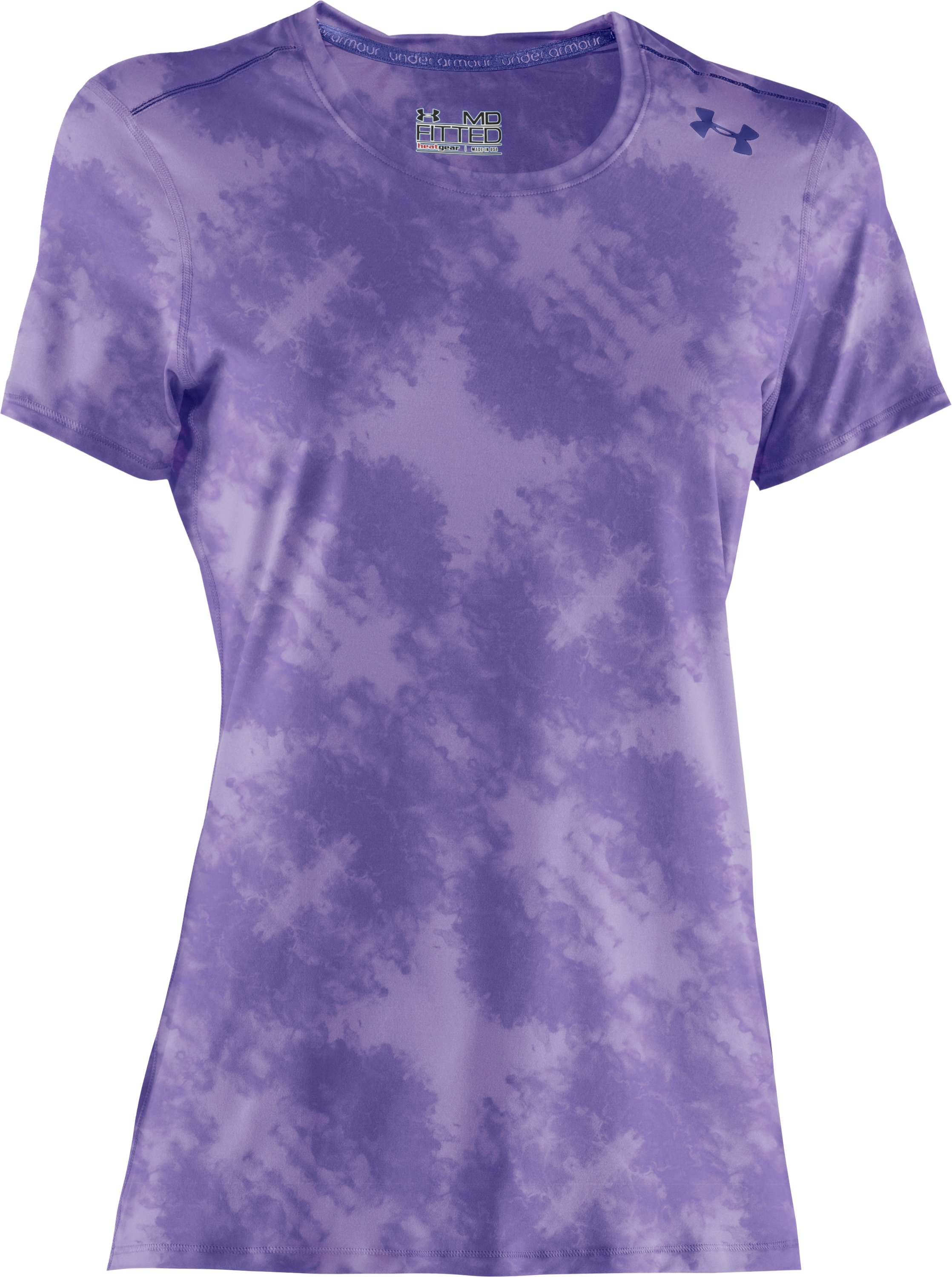 Women's HeatGear® Sonic Printed Short Sleeve, Petunia, undefined