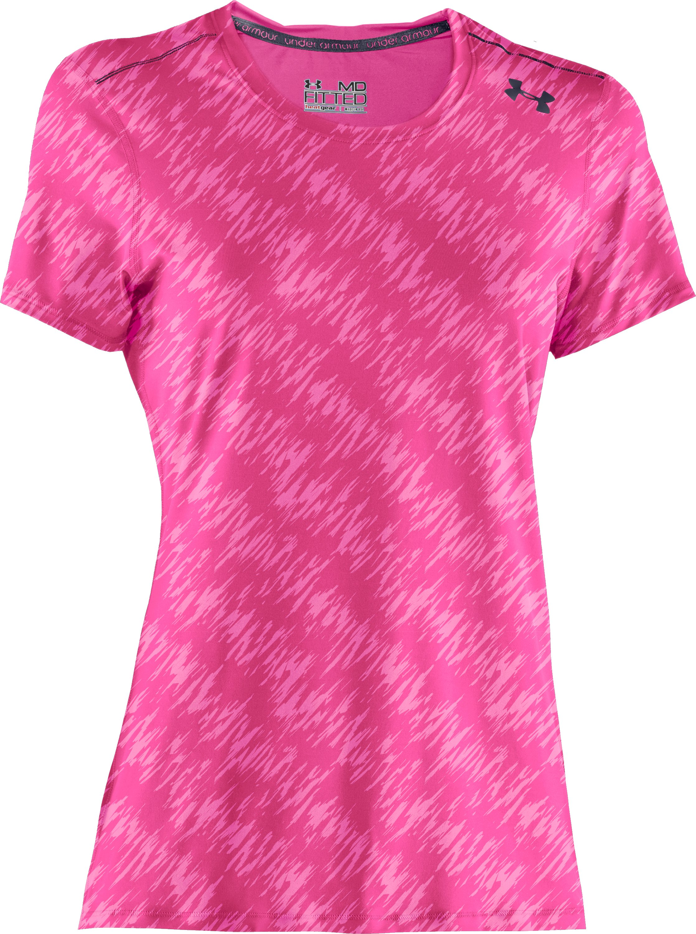 Women's HeatGear® Sonic Printed Short Sleeve, Cerise