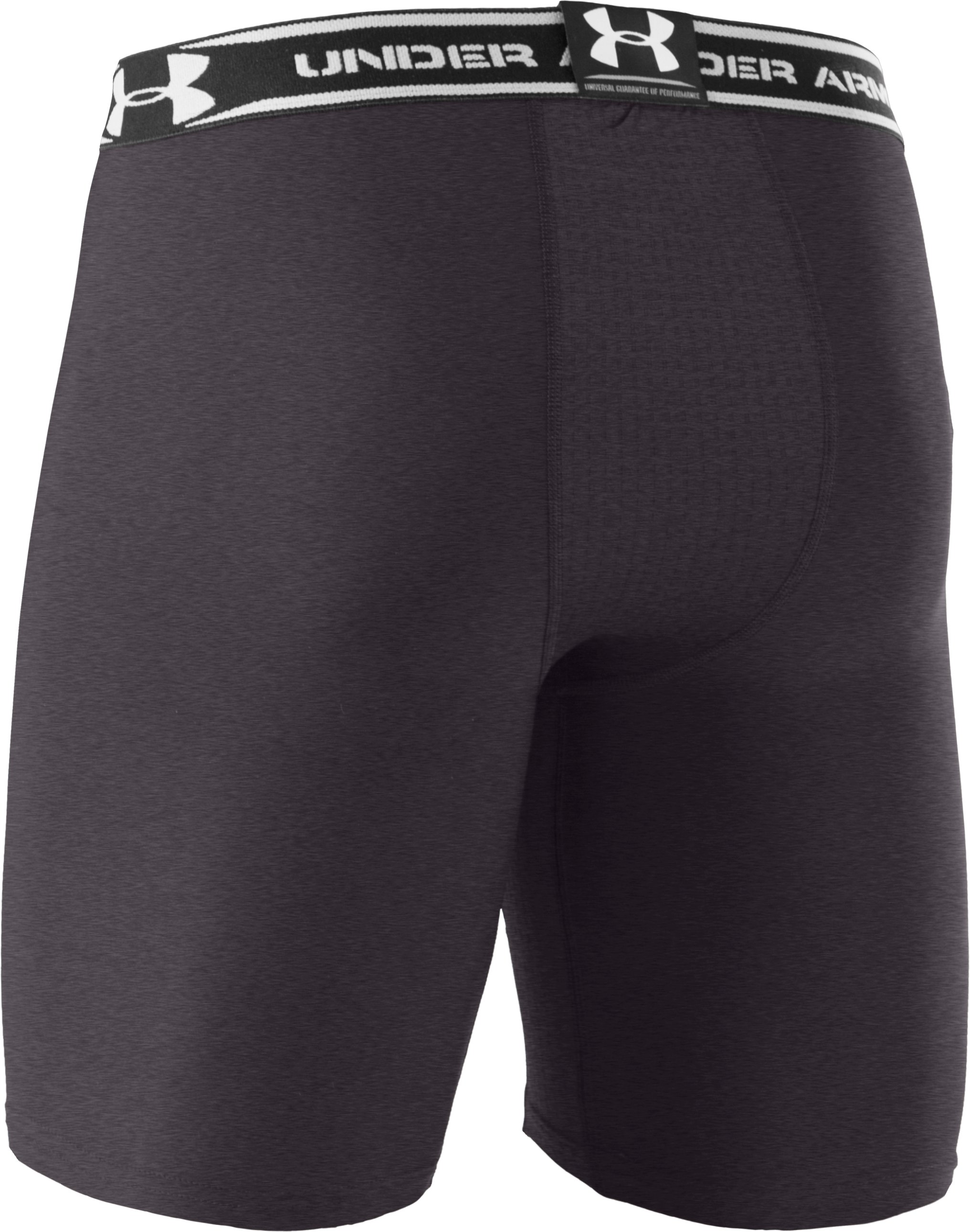 "Men's HeatGear® Vented 7"" Compression Shorts, Carbon Heather"