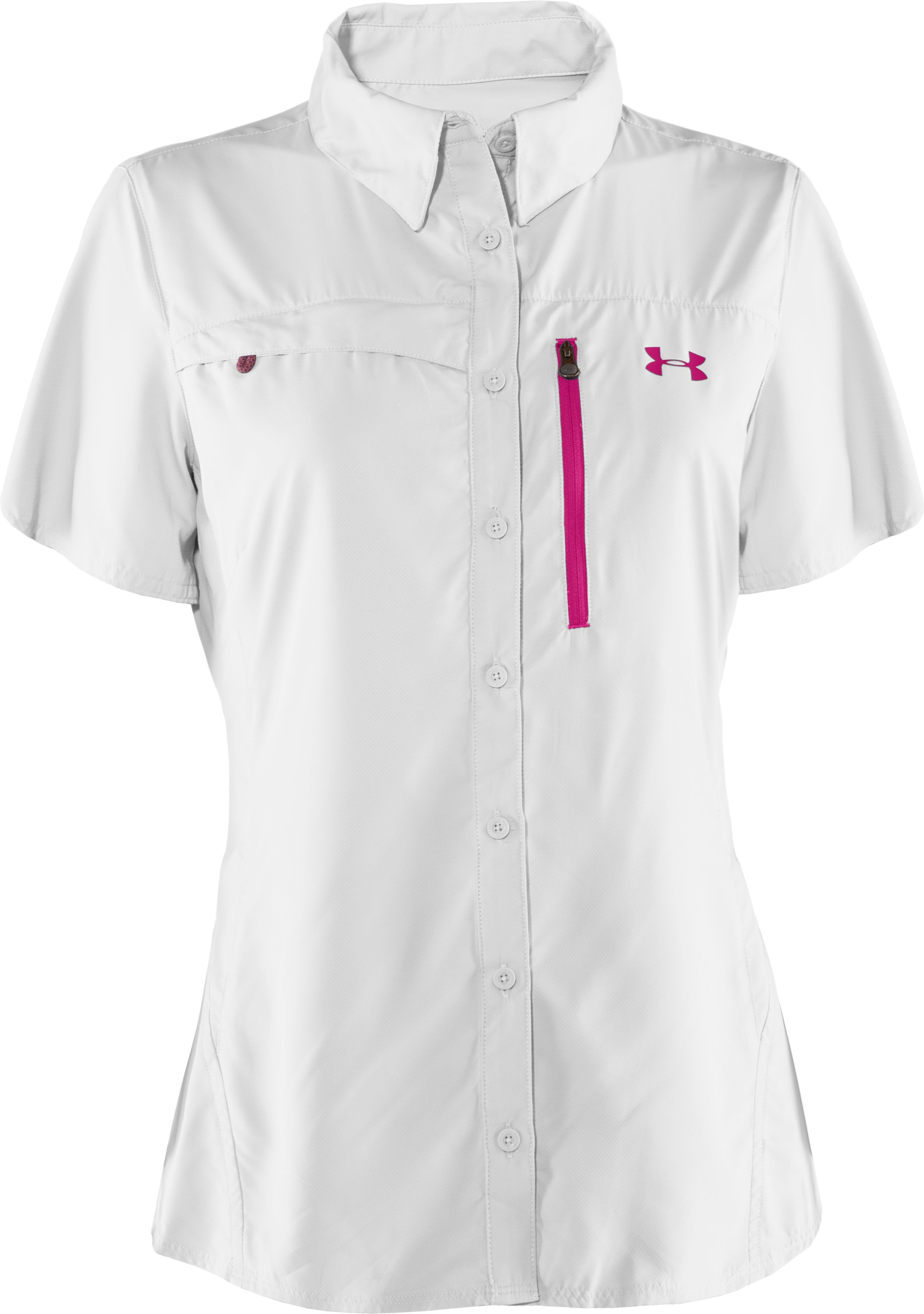 Women's UA Flats Guide Short Sleeve, White, undefined