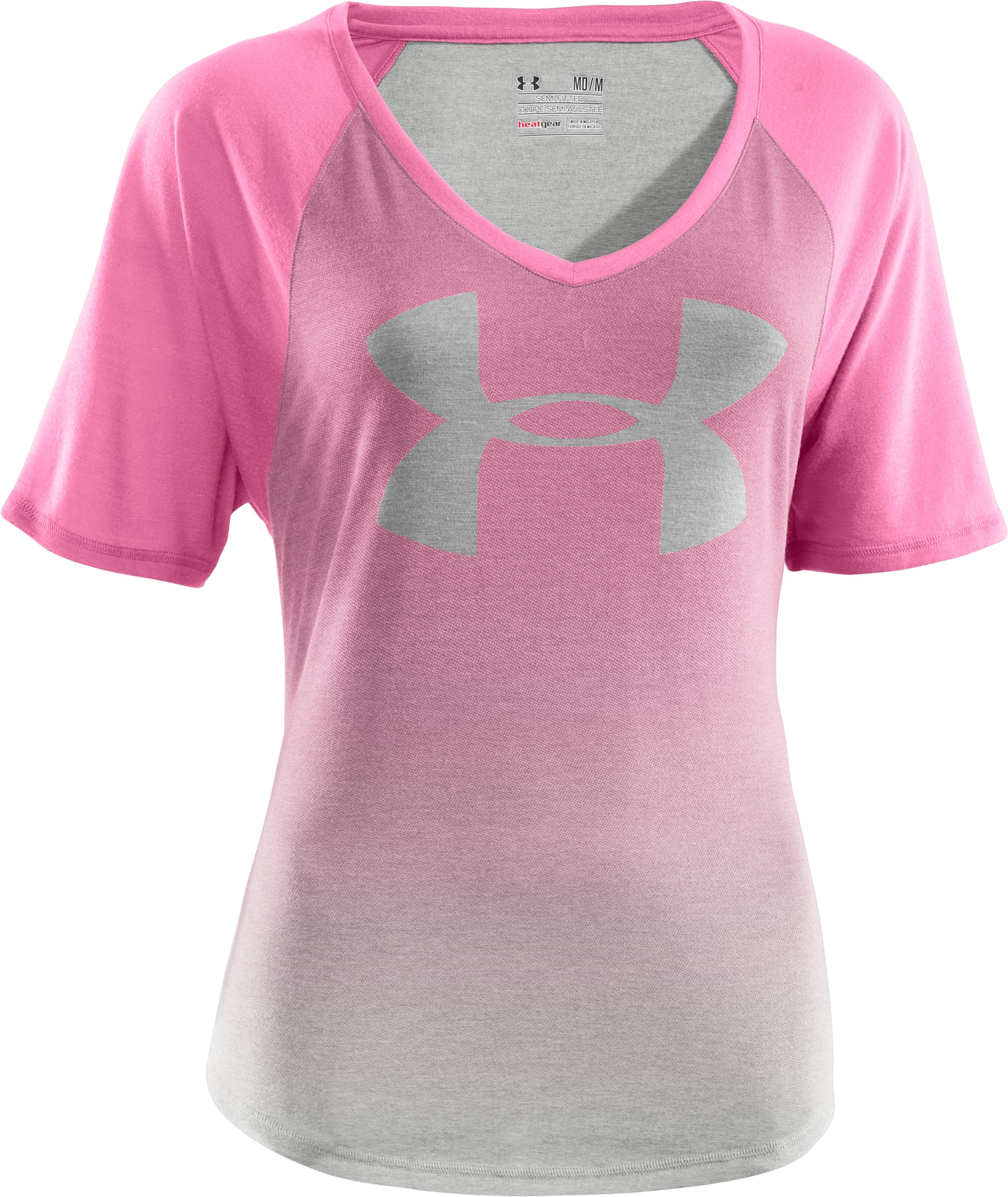 Women's UA Dip-Dye Big Logo Raglan V-Neck, Silver Heather