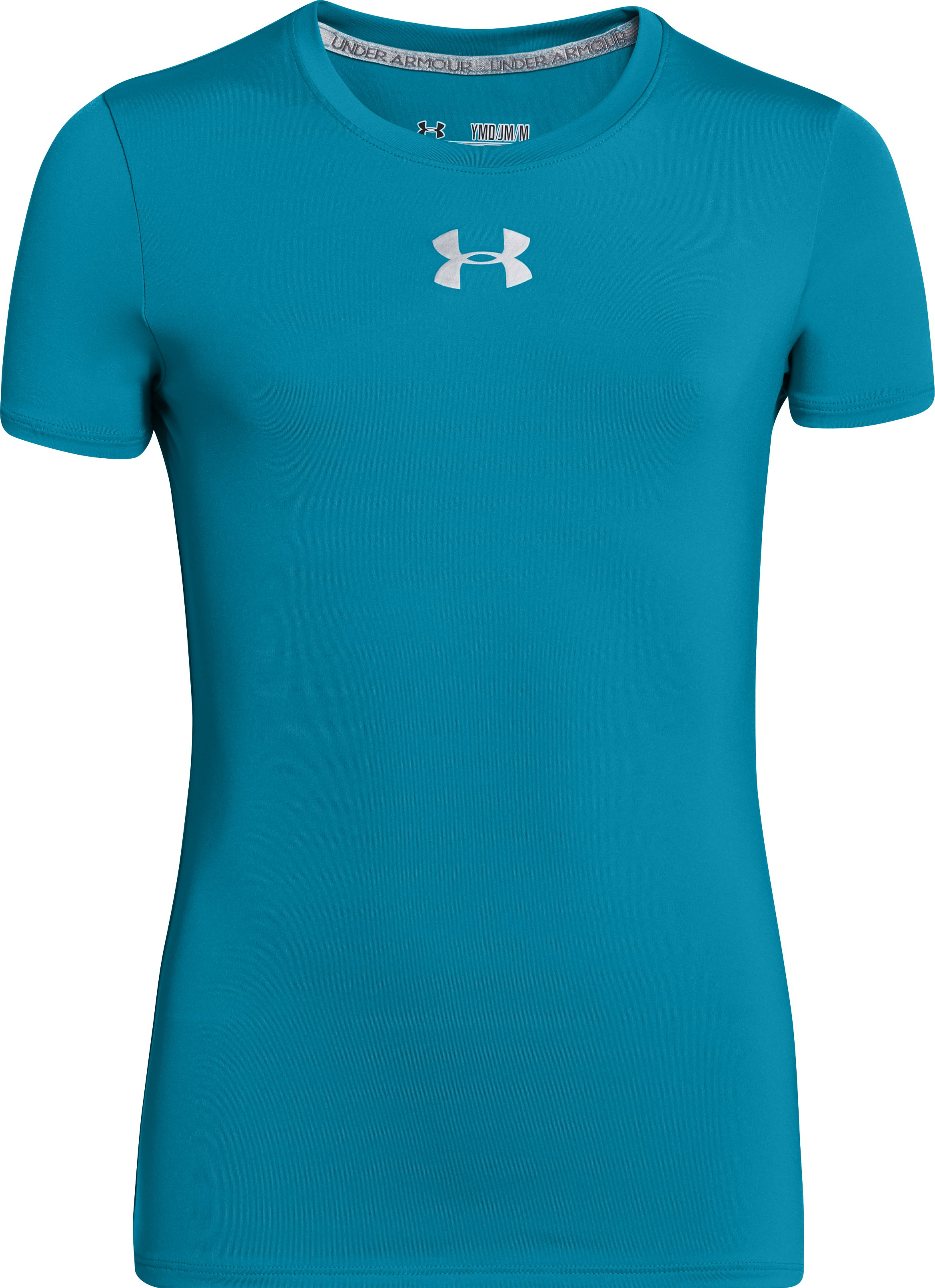 Girls' HeatGear® Sonic Short Sleeve, TEAL ICE, undefined
