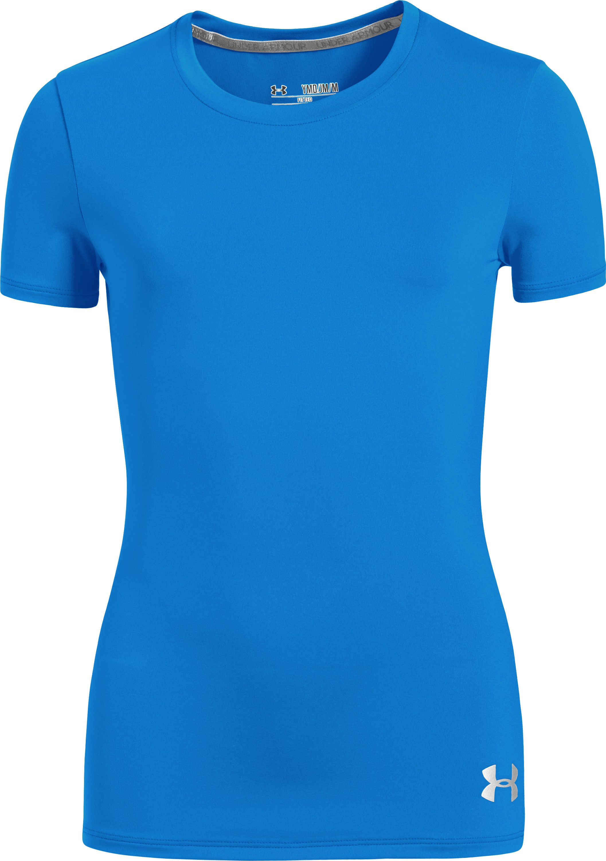 Girls' HeatGear® Sonic Short Sleeve, ELECTRIC BLUE