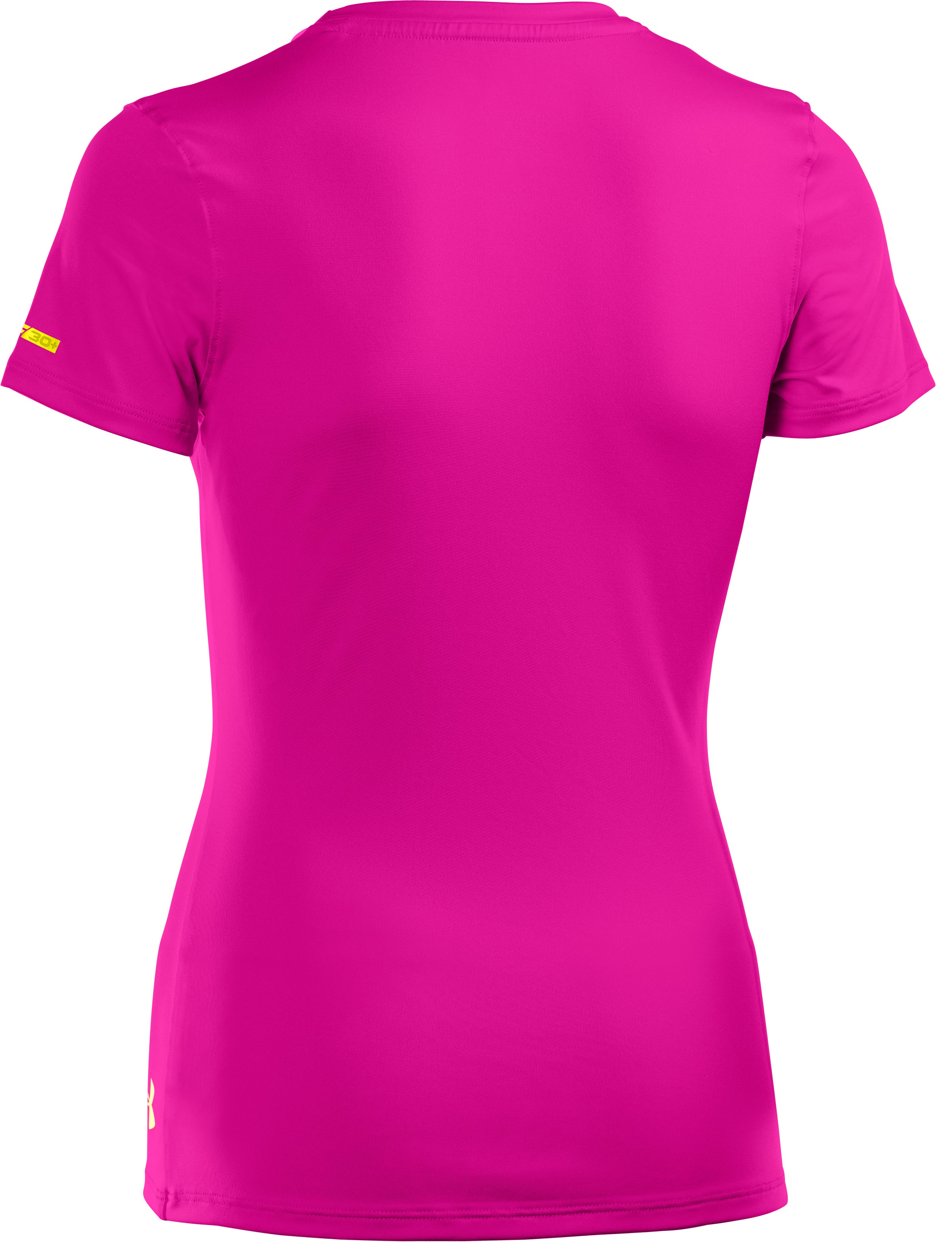 Girls' HeatGear® Sonic Short Sleeve, Tropic Pink, undefined