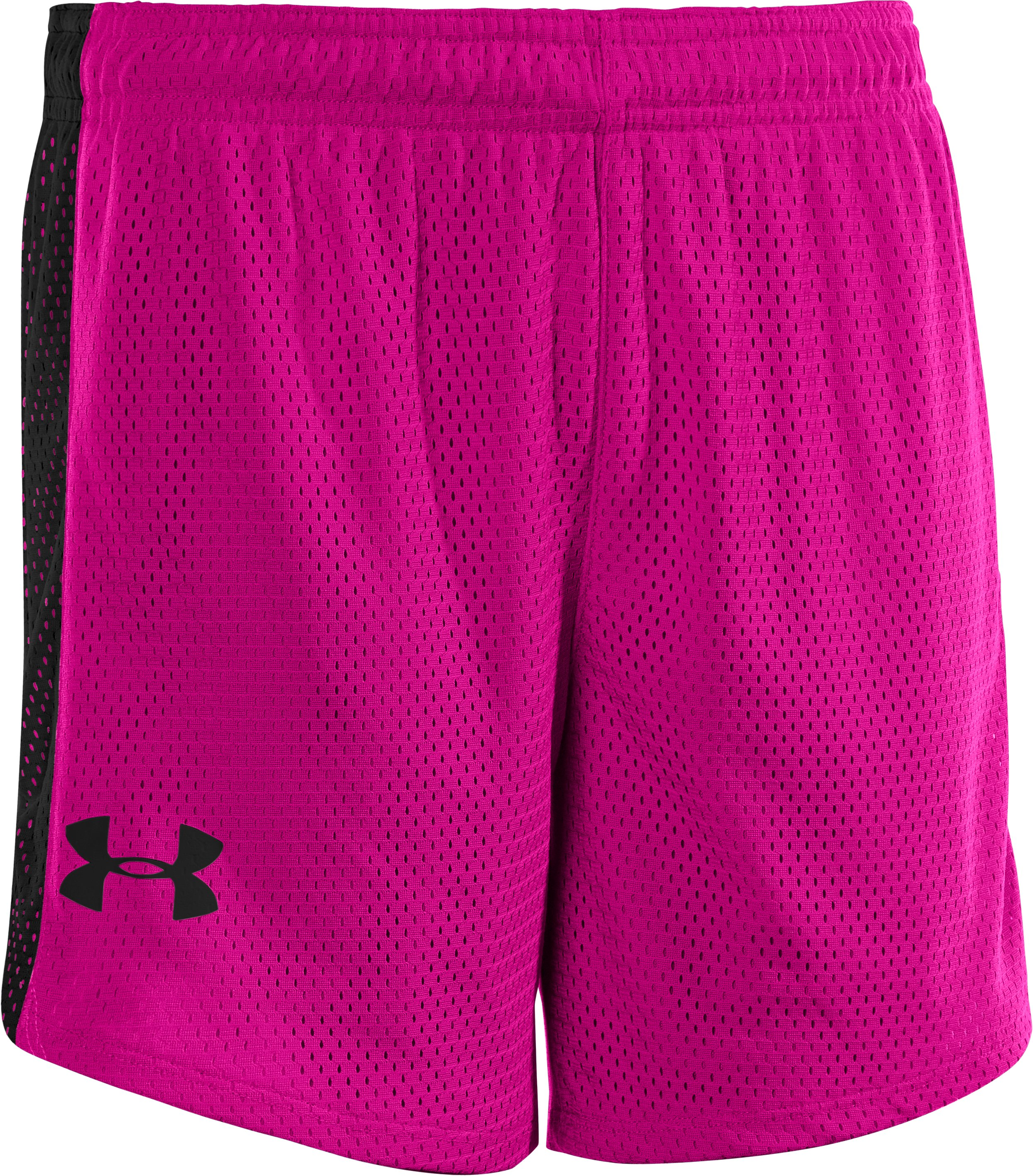 "Girls' UA Trophy 5"" Mesh Shorts, Tropic Pink, zoomed image"