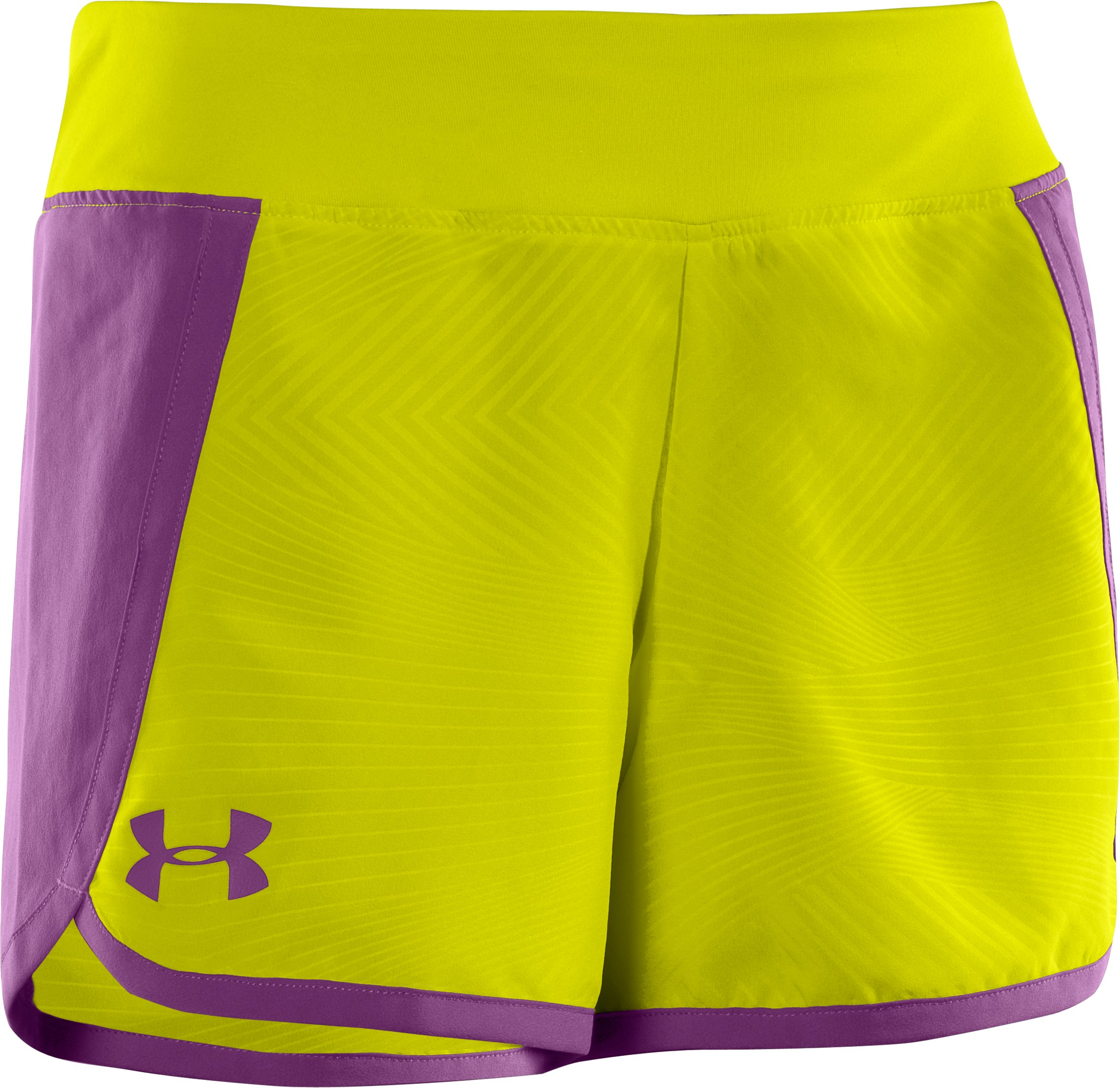 "Girls' UA Ripping 3"" Shorts, High-Vis Yellow, zoomed image"