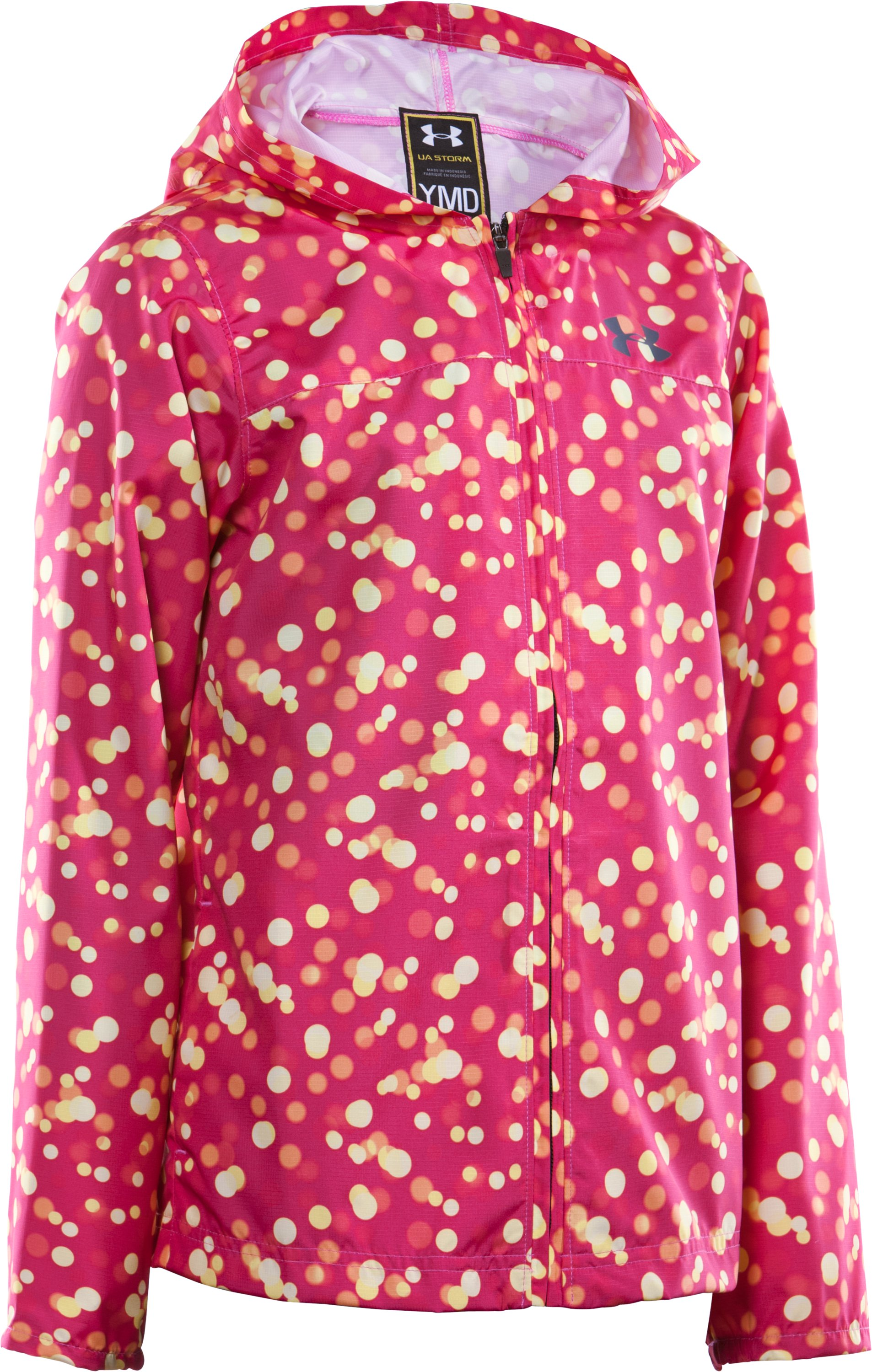 Girls' UA Droplets Jacket, Tropic Pink, zoomed image