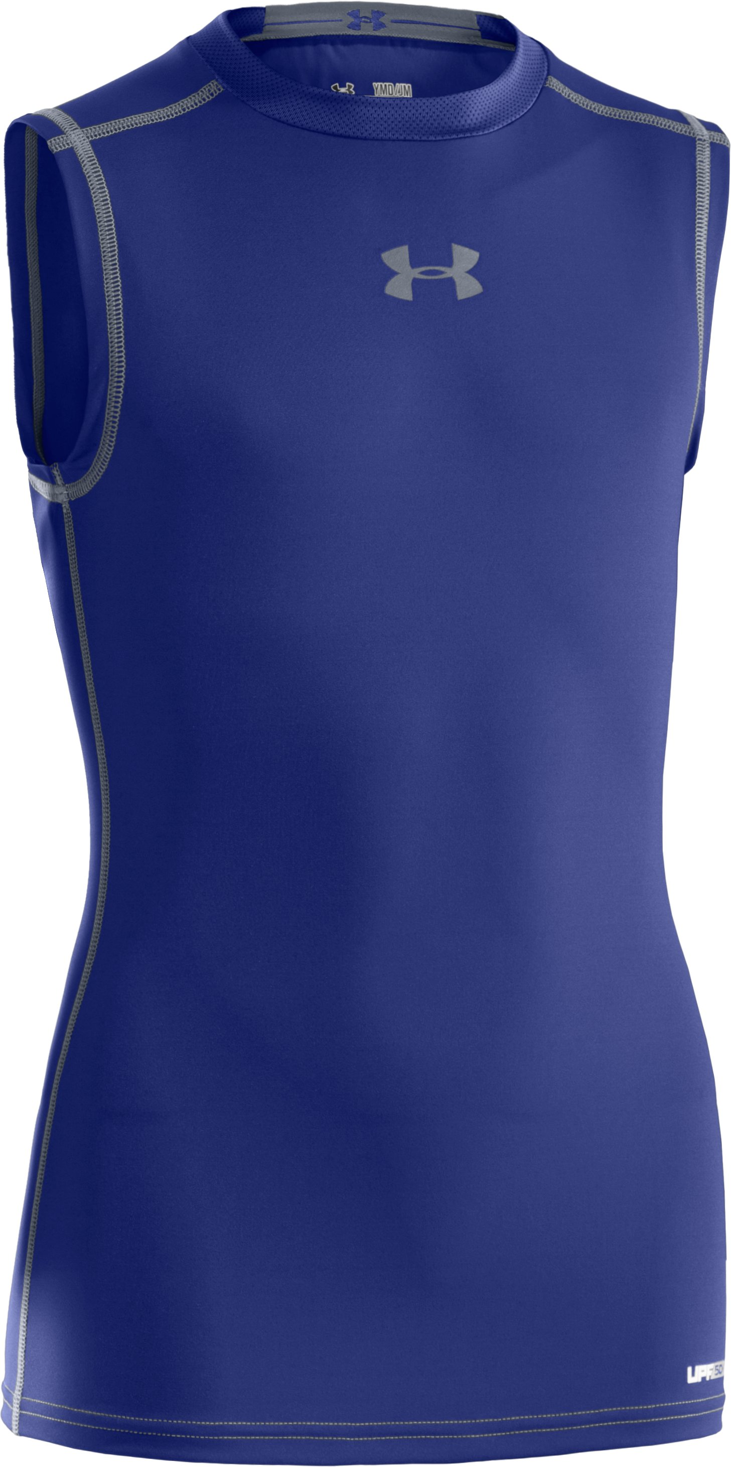 Boys' HeatGear® Sonic Fitted Sleeveless, Royal, zoomed image