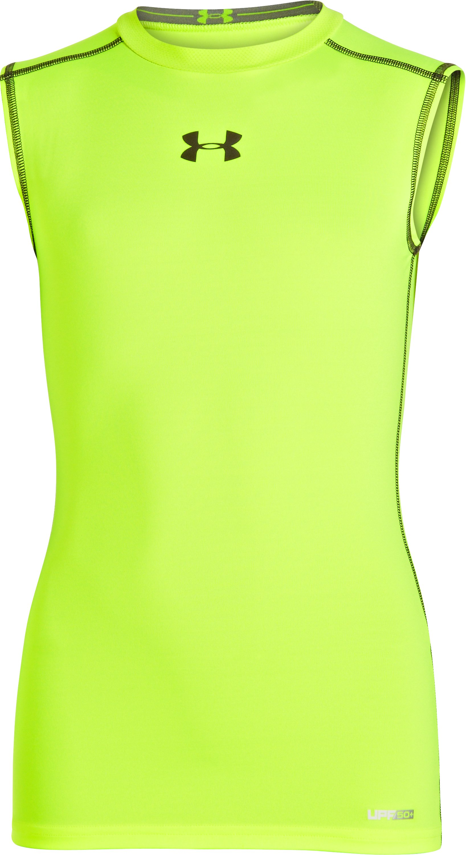 Boys' HeatGear® Sonic Fitted Sleeveless, High-Vis Yellow
