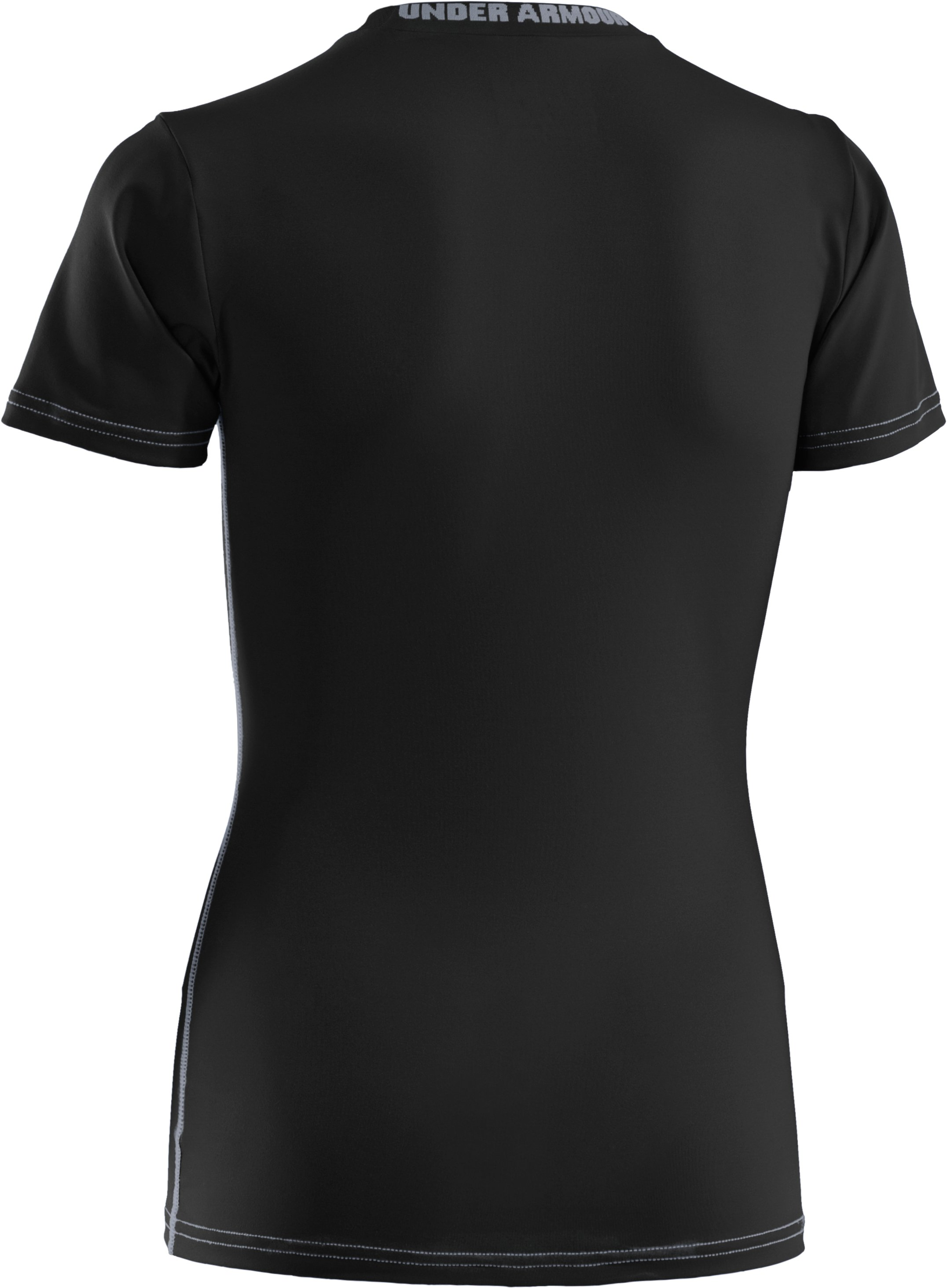 Boys' UA HeatGear® Sonic Fitted Short Sleeve, Black ,