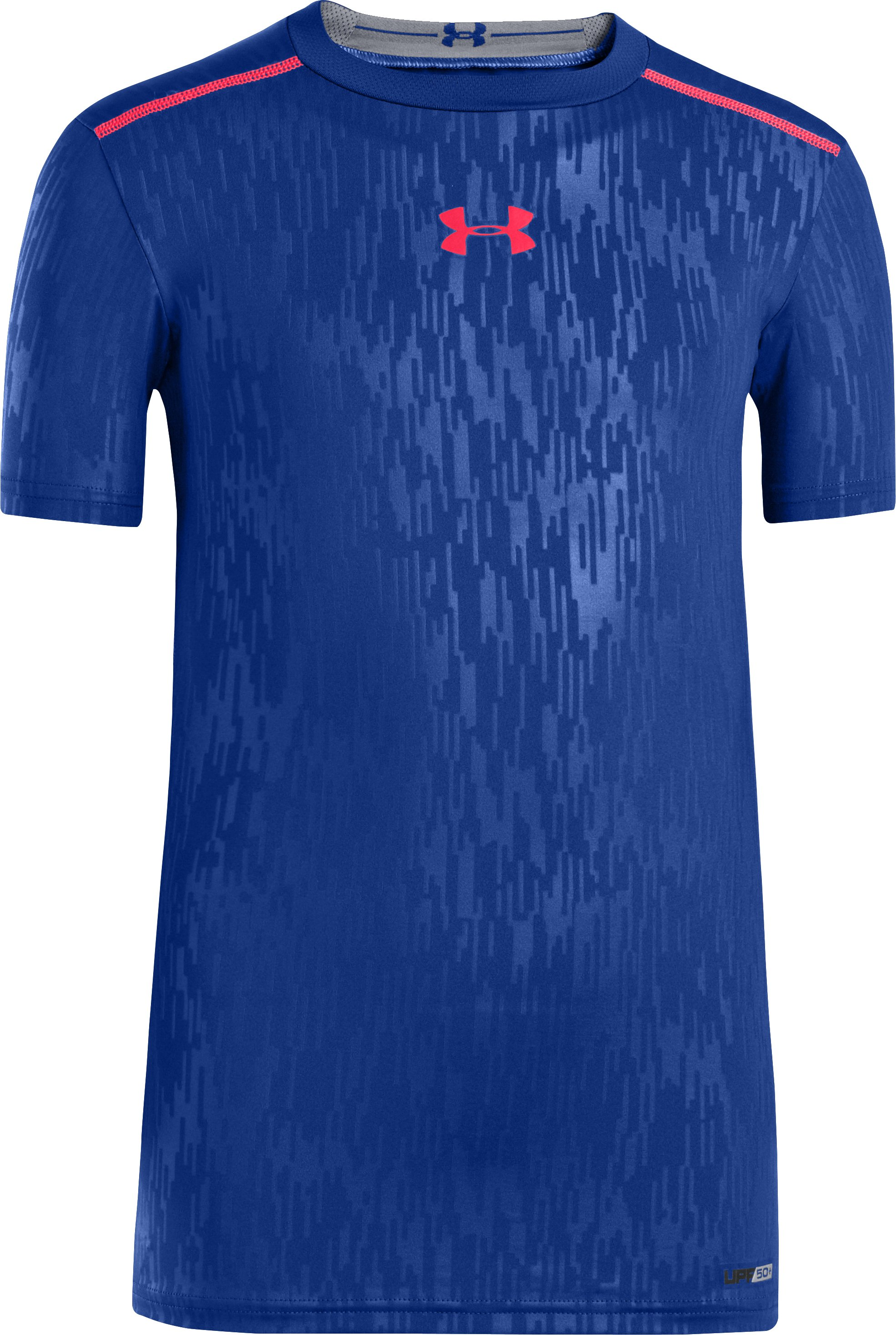 Boys' HeatGear® Sonic Fitted Short Sleeve, Royal, zoomed image