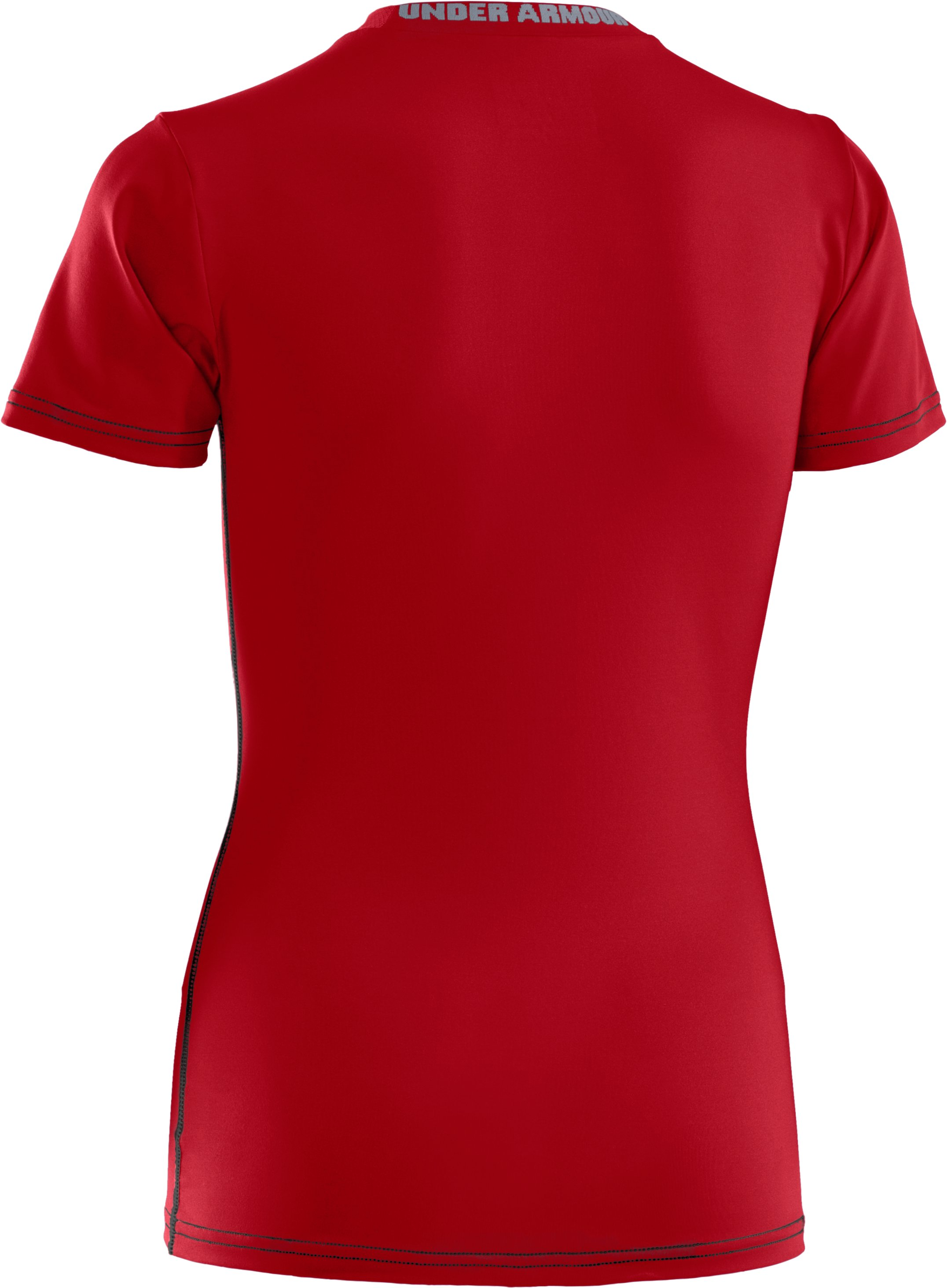 Boys' UA HeatGear® Sonic Fitted Short Sleeve, Red, undefined