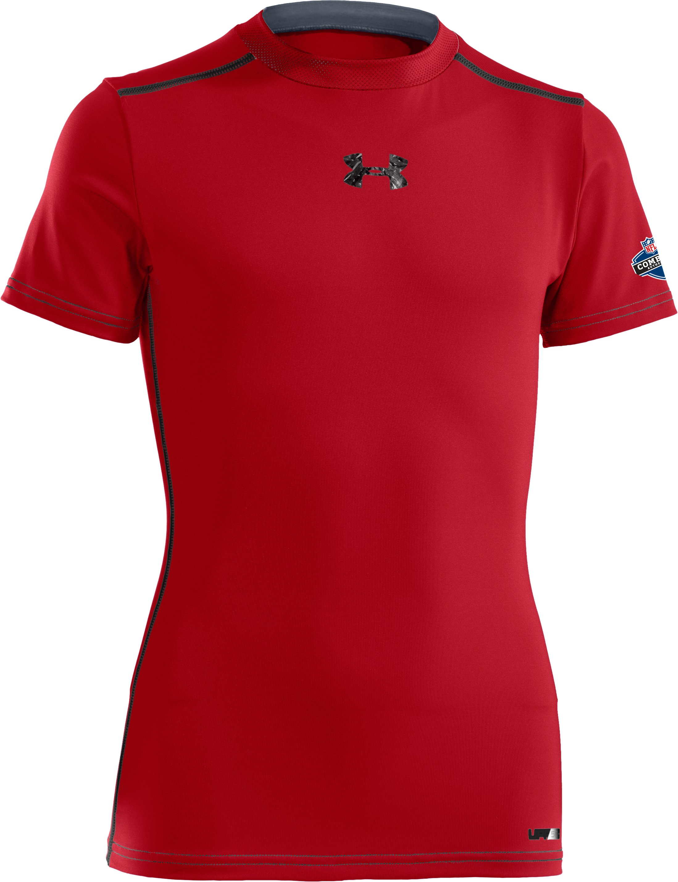 Boys' UA HeatGear® Sonic Fitted Short Sleeve, Red, zoomed image