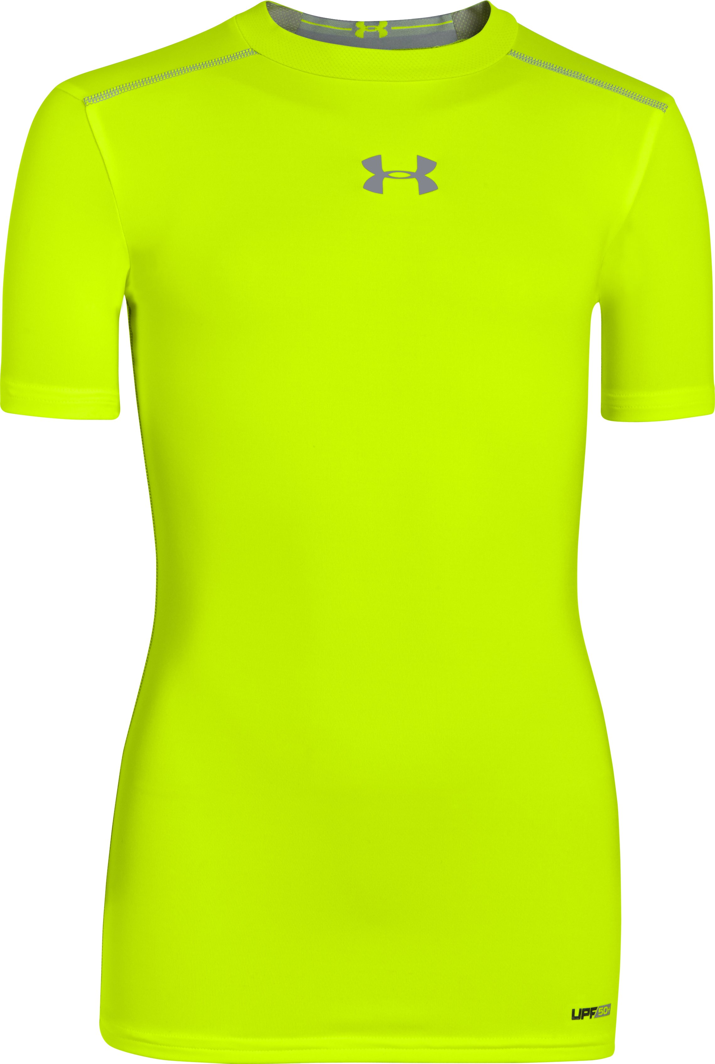 Boys' UA HeatGear® Sonic Fitted Short Sleeve, High-Vis Yellow