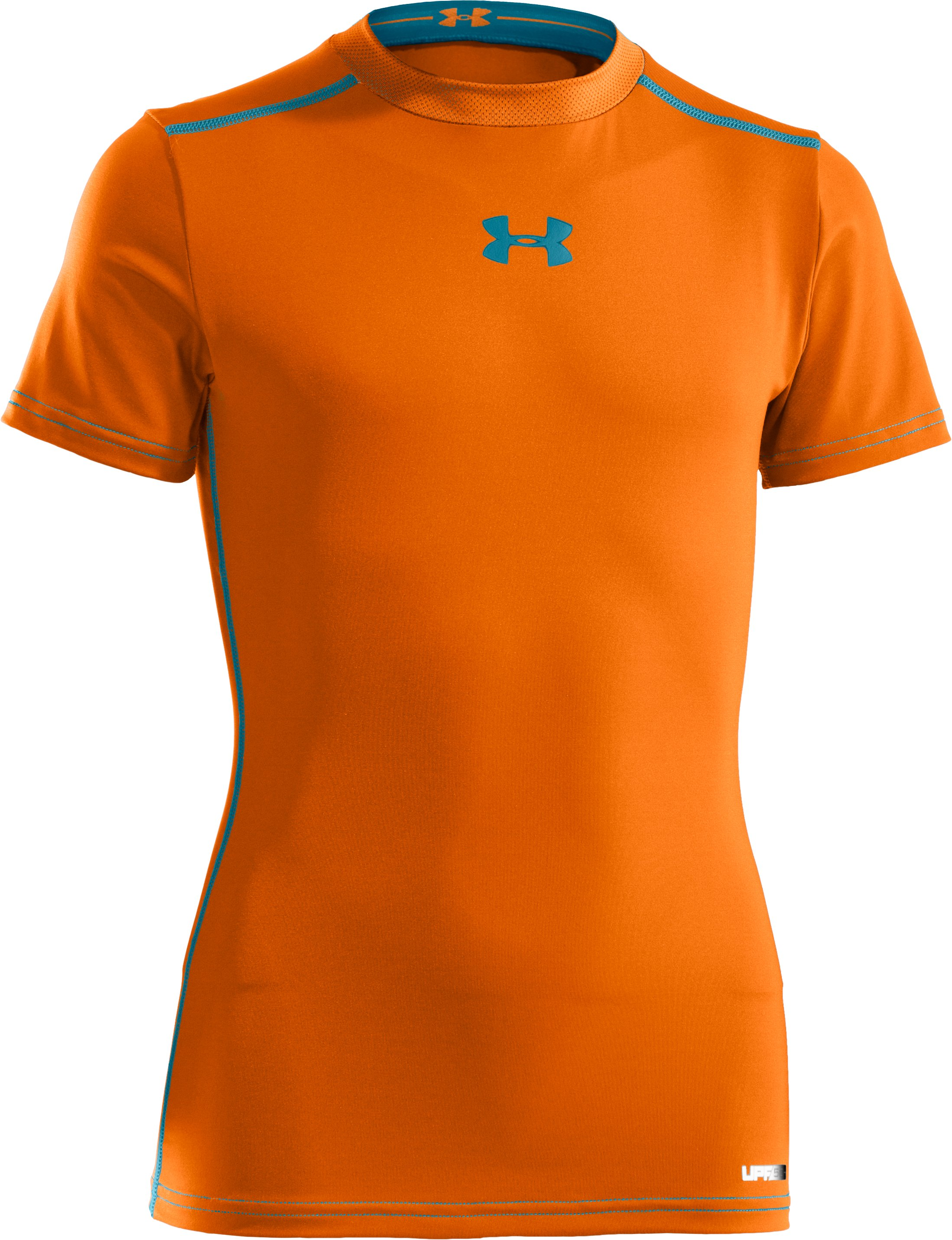 Boys' UA HeatGear® Sonic Fitted Short Sleeve, Blaze Orange, zoomed image
