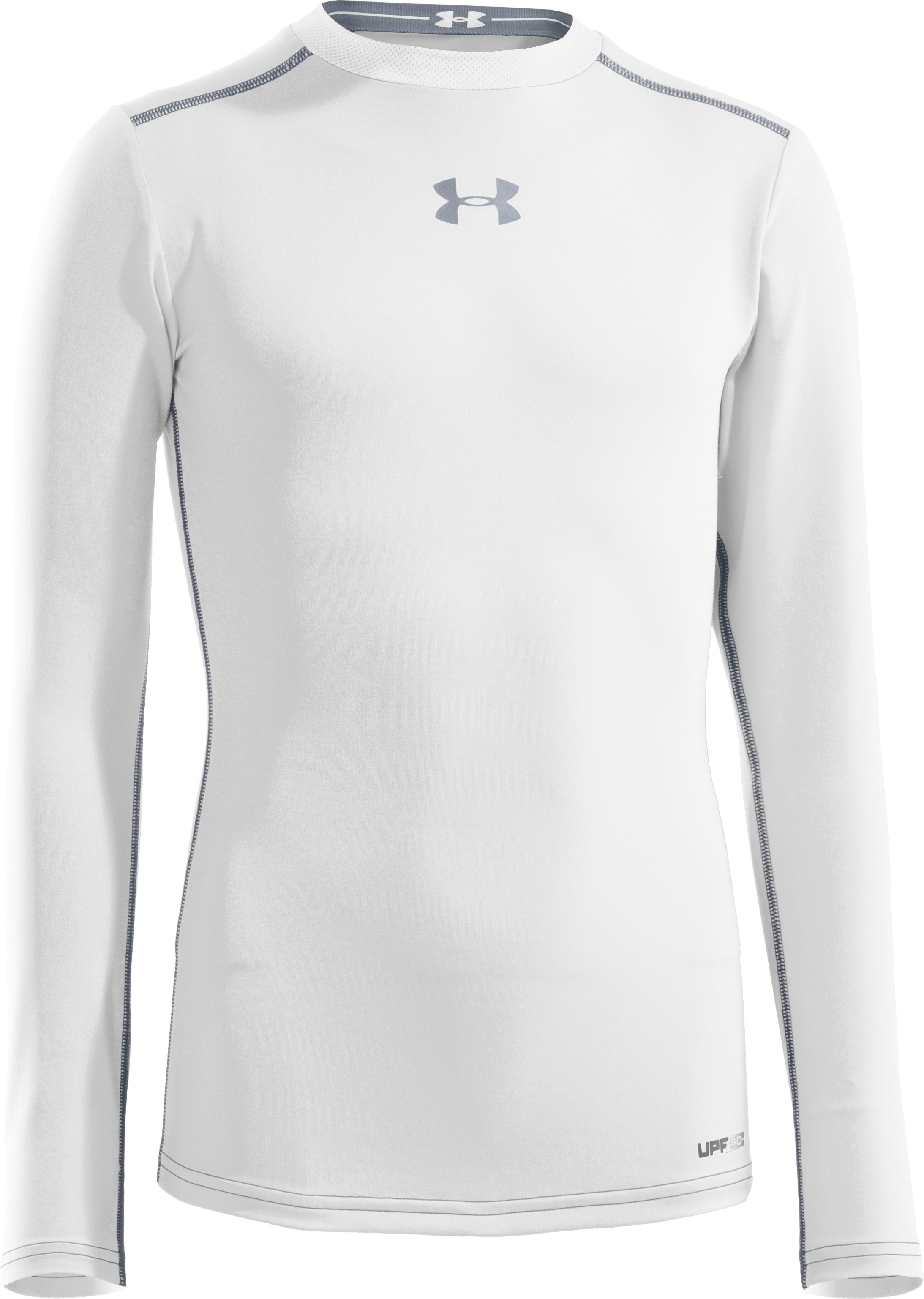 Boys' HeatGear® Sonic Fitted Long Sleeve, White, zoomed image