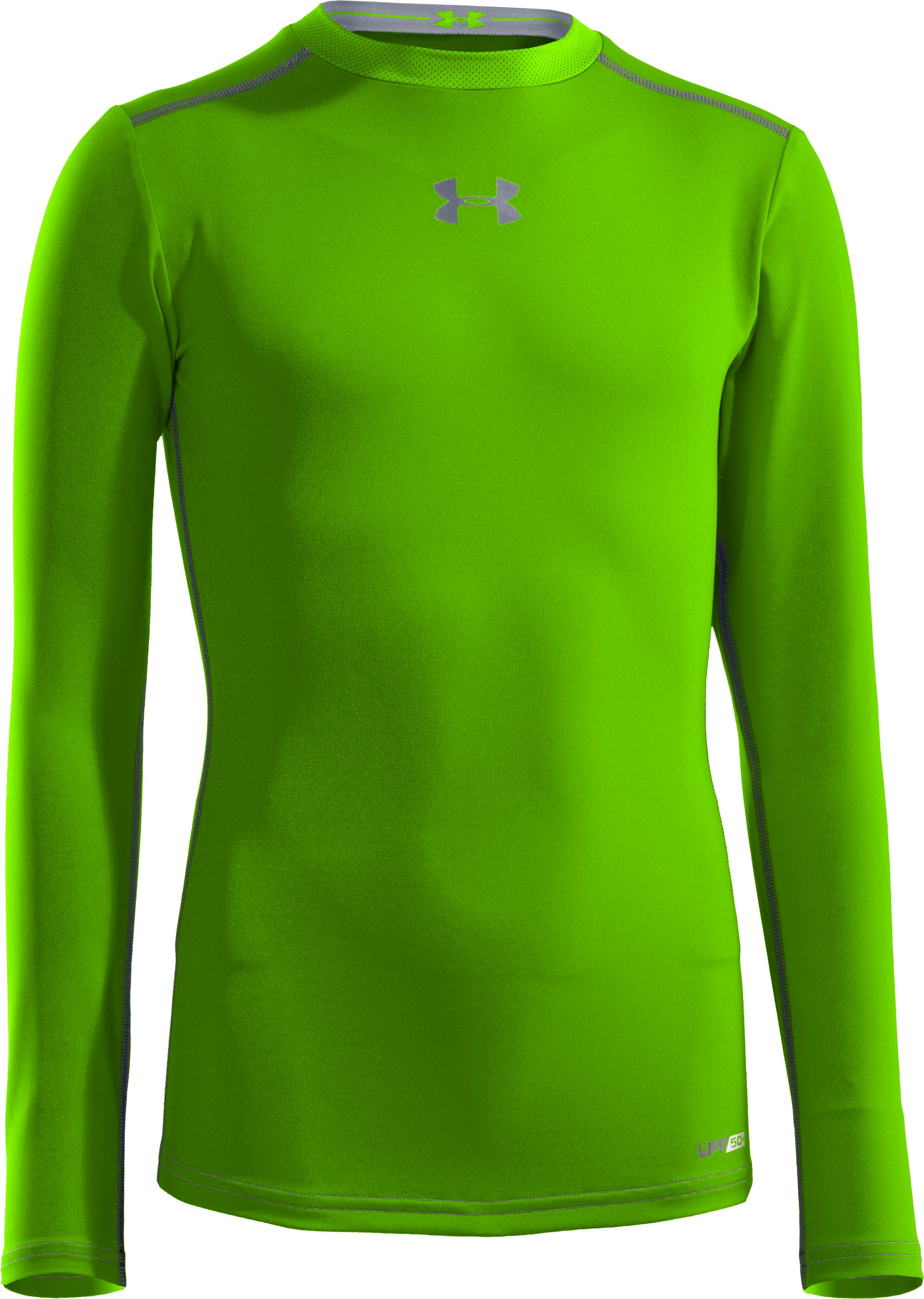 Boys' HeatGear® Sonic Fitted Long Sleeve, HYPER GREEN, zoomed image