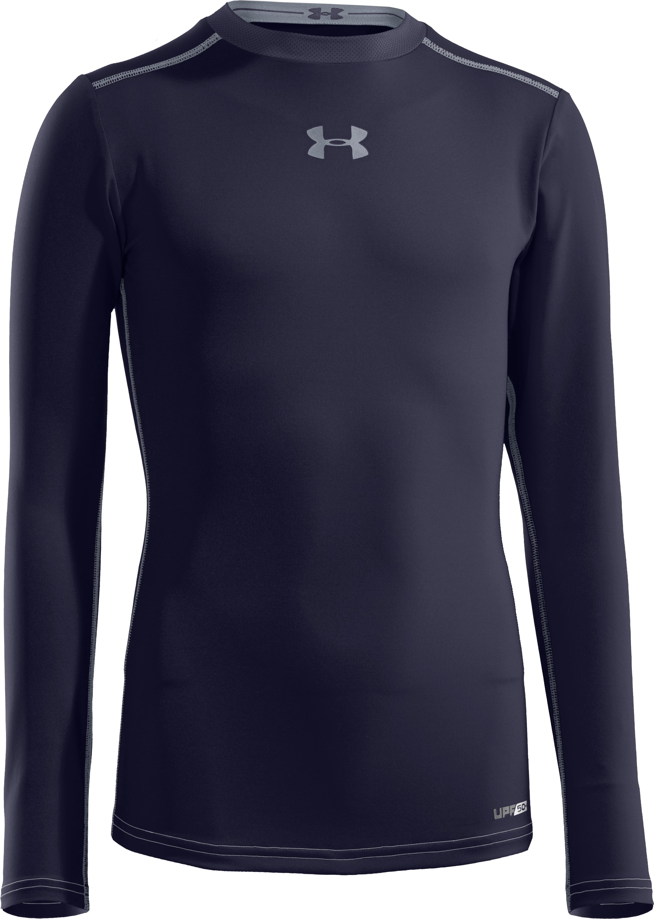Boys' HeatGear® Sonic Fitted Long Sleeve, Midnight Navy
