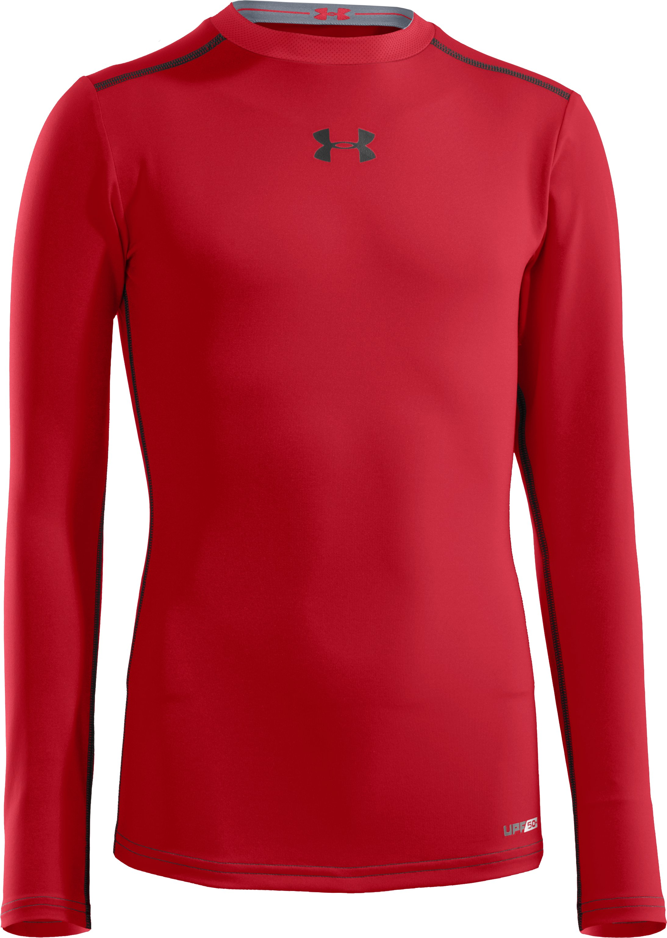 Boys' HeatGear® Sonic Fitted Long Sleeve, Red, zoomed image