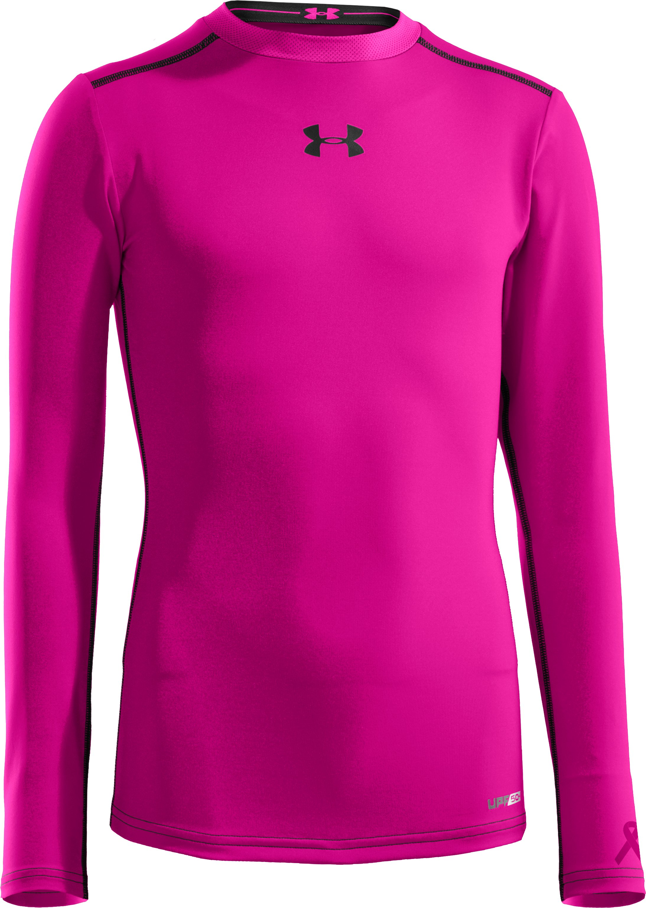 Boys' HeatGear® Sonic Fitted Long Sleeve, Tropic Pink