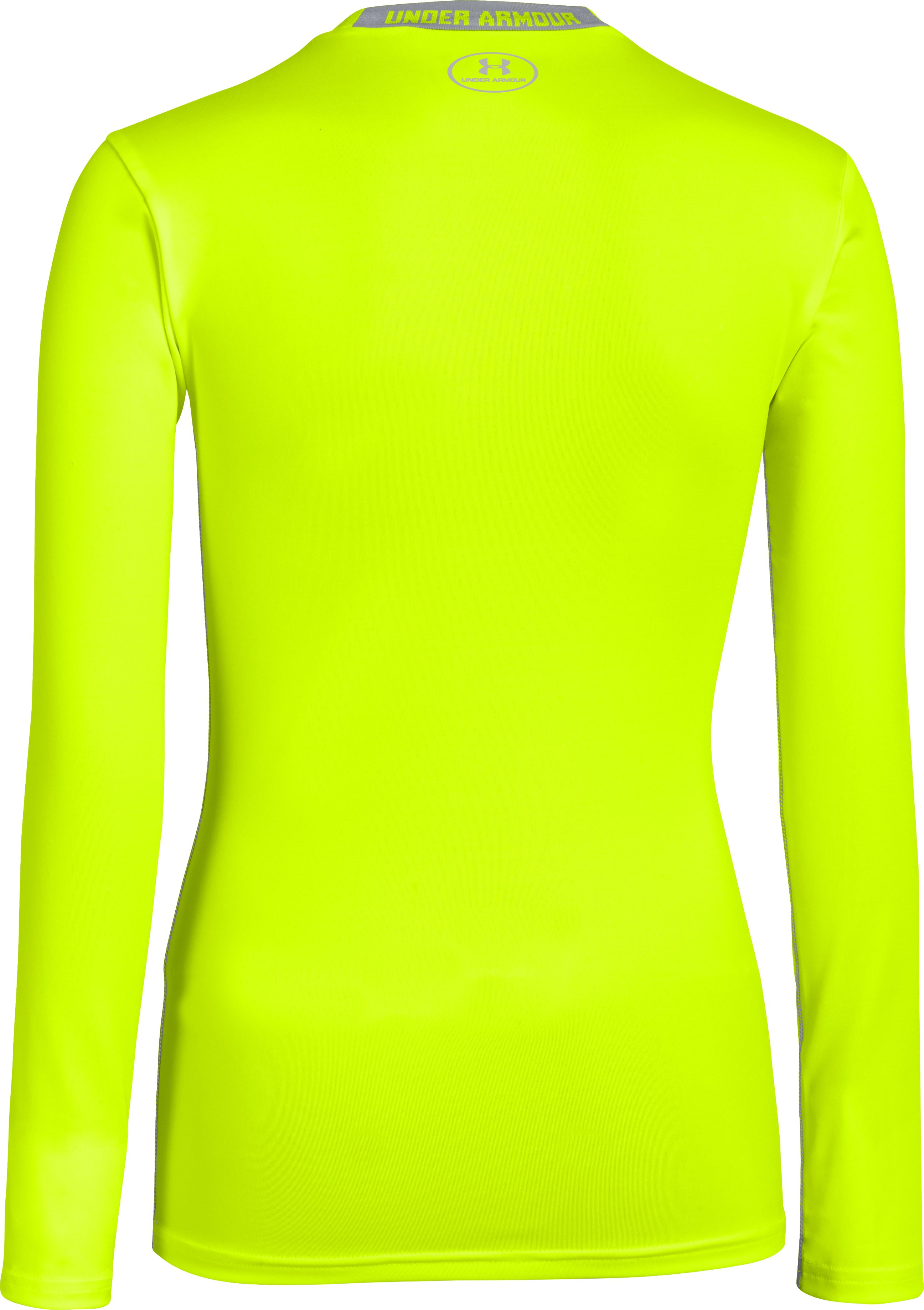 Boys' HeatGear® Sonic Fitted Long Sleeve, High-Vis Yellow