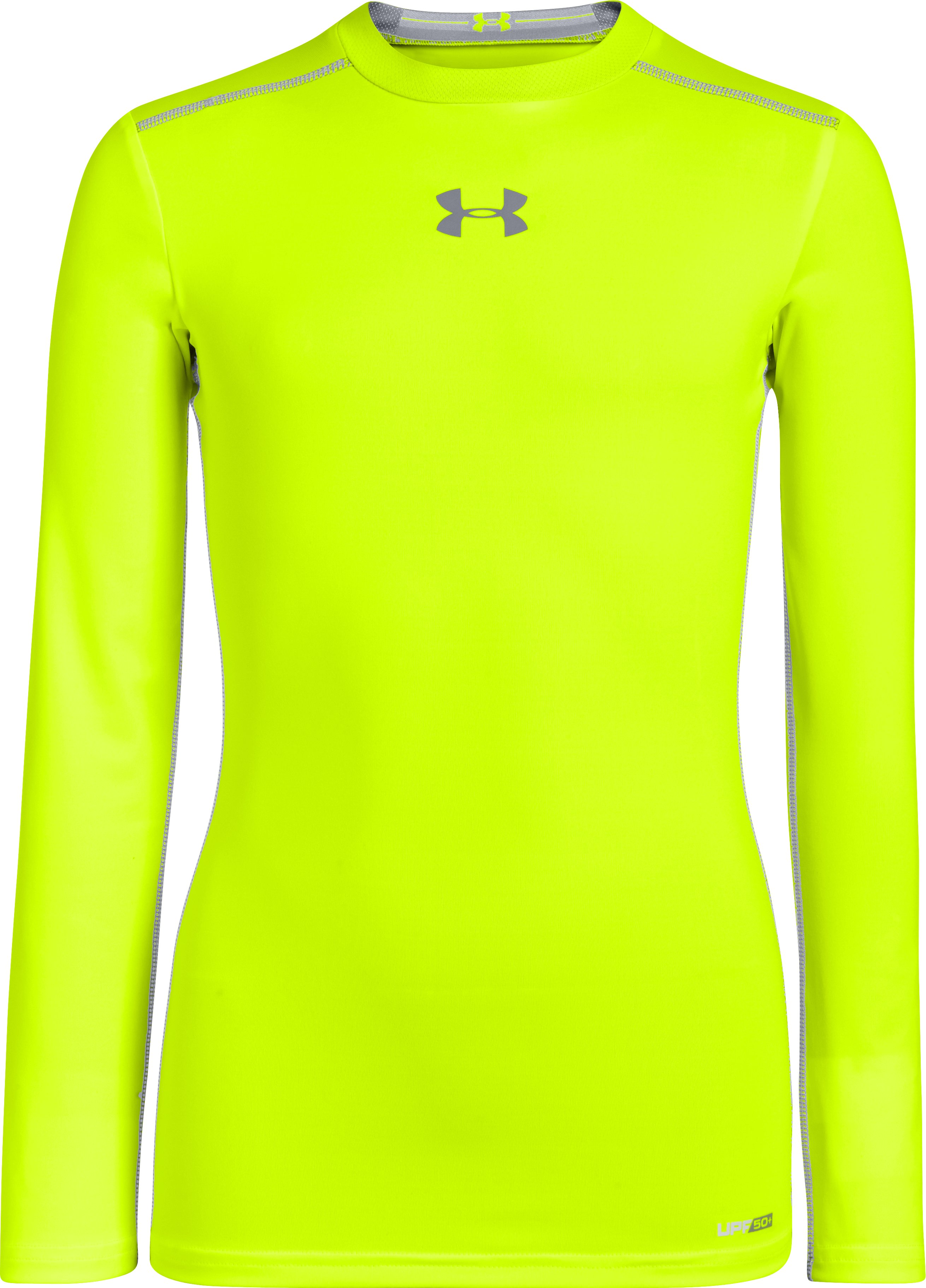 Boys' HeatGear® Sonic Fitted Long Sleeve, High-Vis Yellow, zoomed image