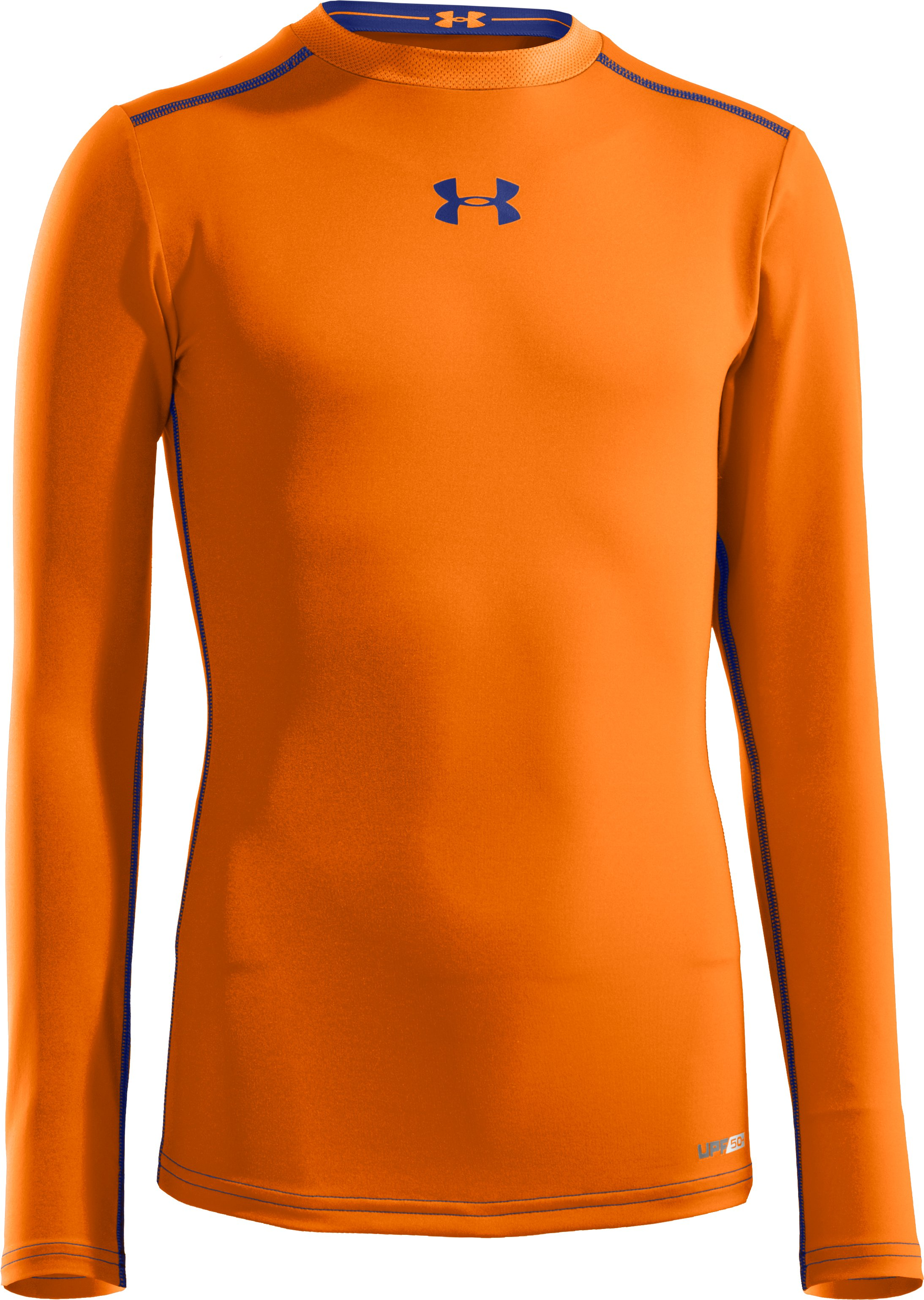 Boys' HeatGear® Sonic Fitted Long Sleeve, Blaze Orange, zoomed image