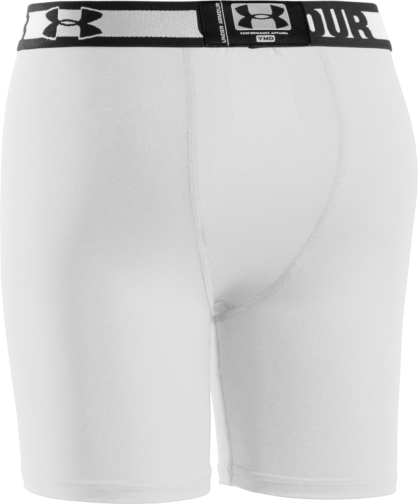 "Boys' HeatGear® Sonic 4"" Fitted Shorts, White"