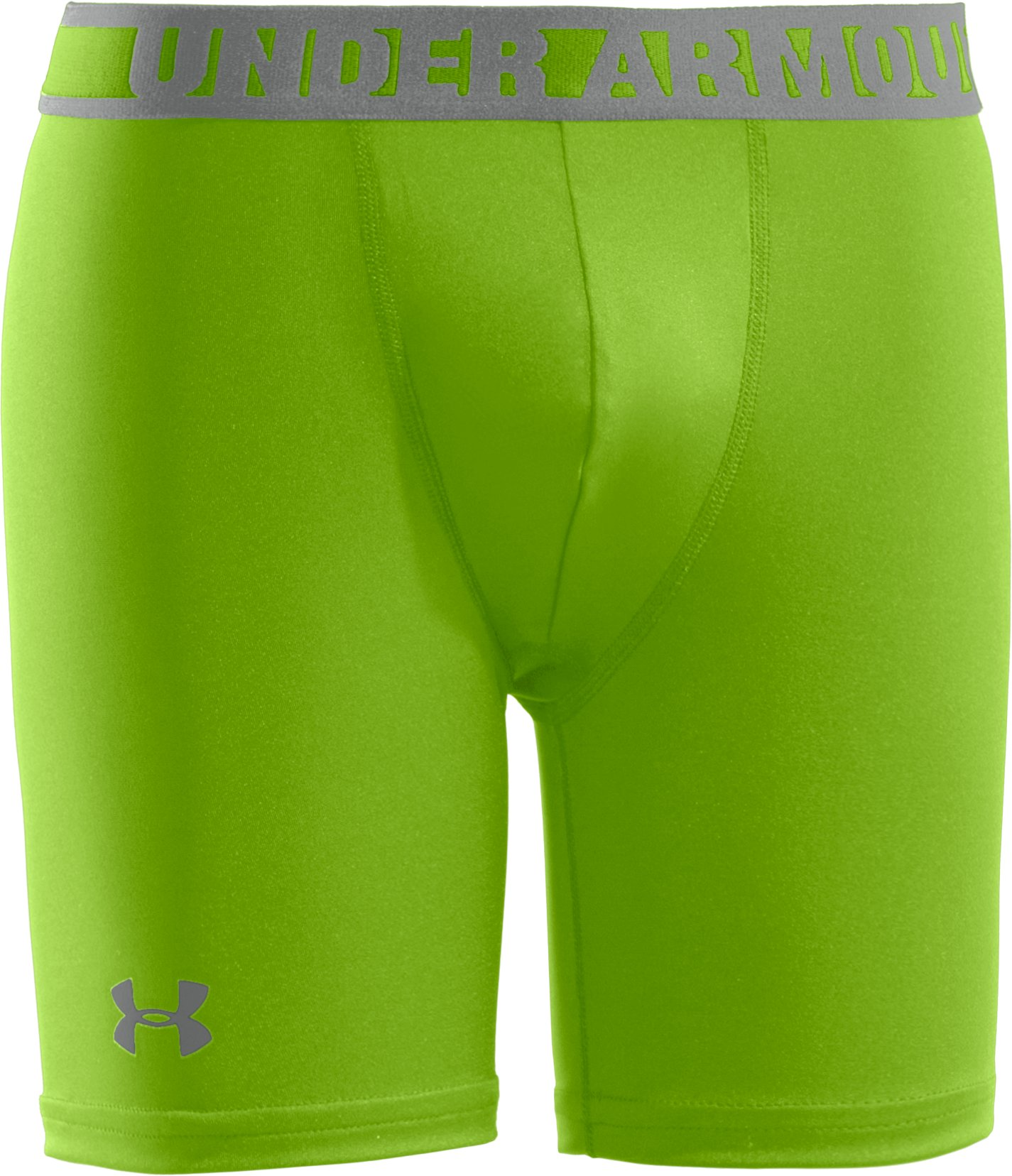 "Boys' HeatGear® Sonic 4"" Fitted Shorts, HYPER GREEN, zoomed image"