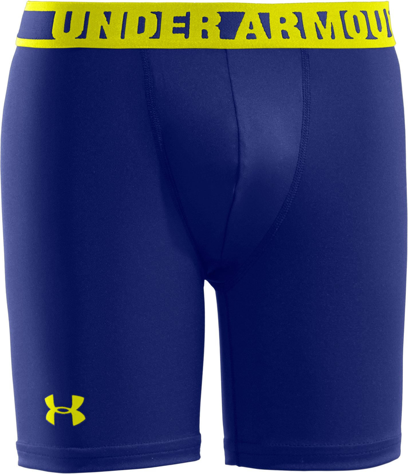 "Boys' HeatGear® Sonic 4"" Fitted Shorts, Royal, zoomed image"