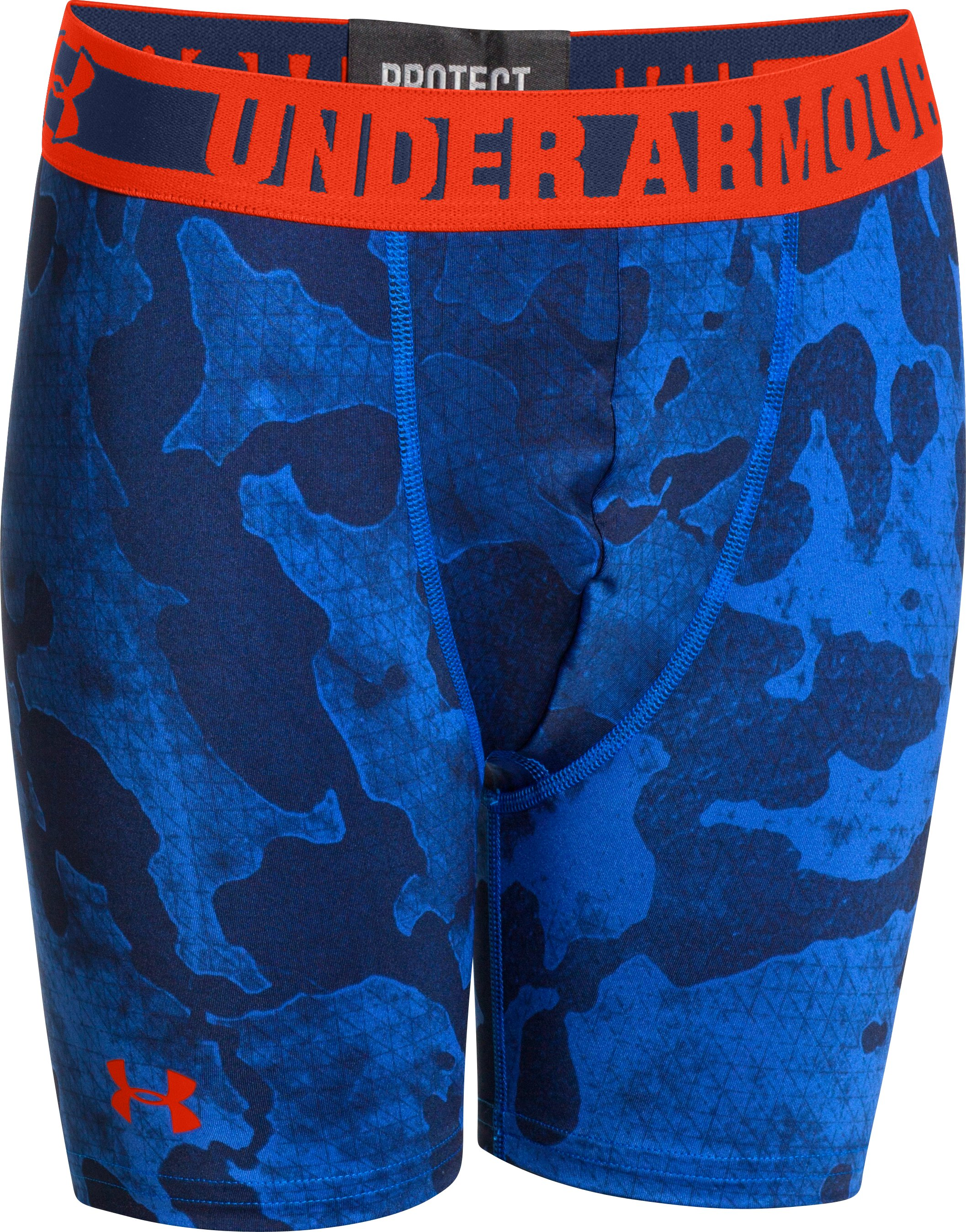 "Boys' HeatGear® Sonic 4"" Fitted Shorts, DEEP SPACE BLUE, zoomed image"