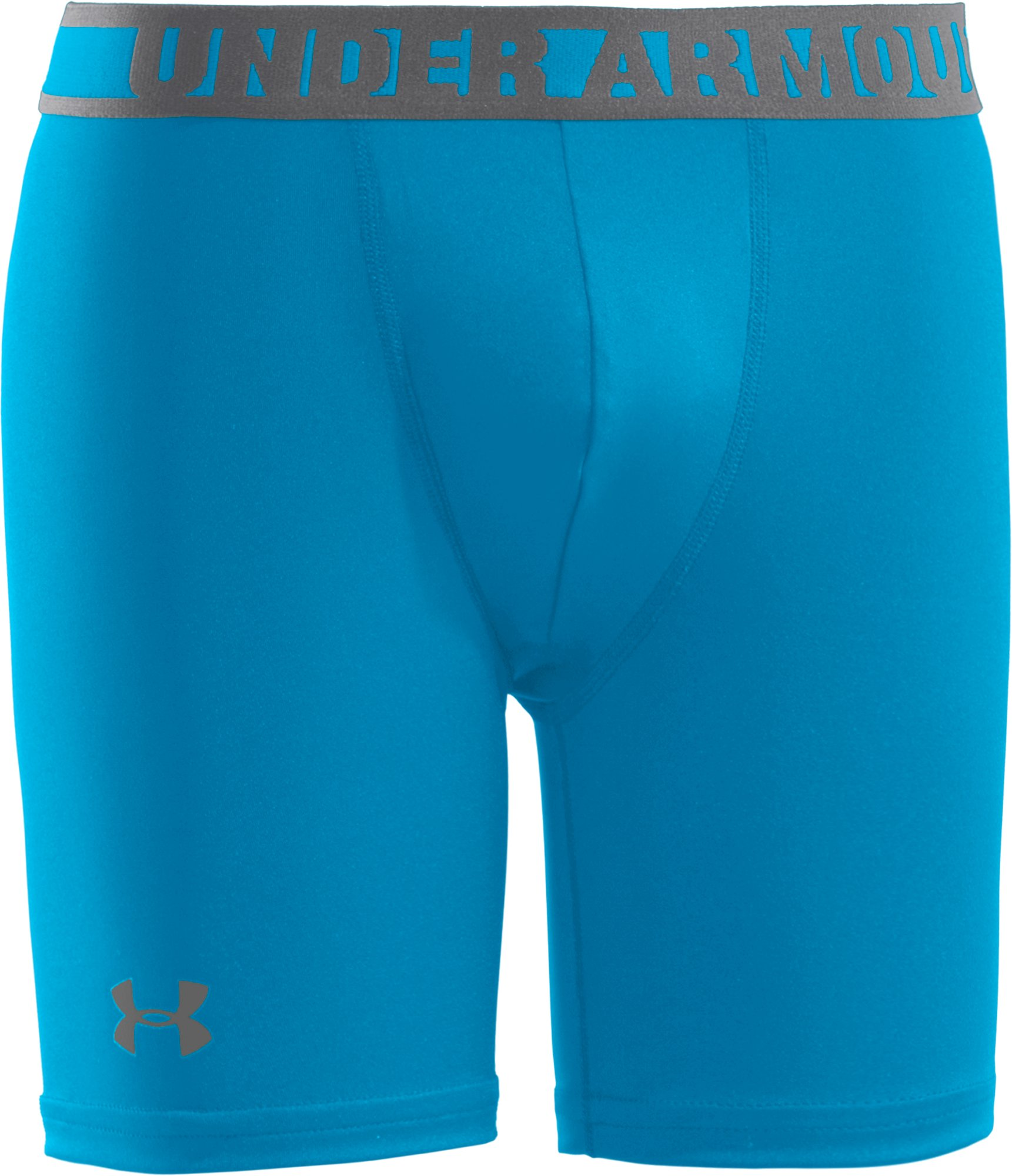 "Boys' HeatGear® Sonic 4"" Fitted Shorts, PIRATE BLUE, zoomed image"