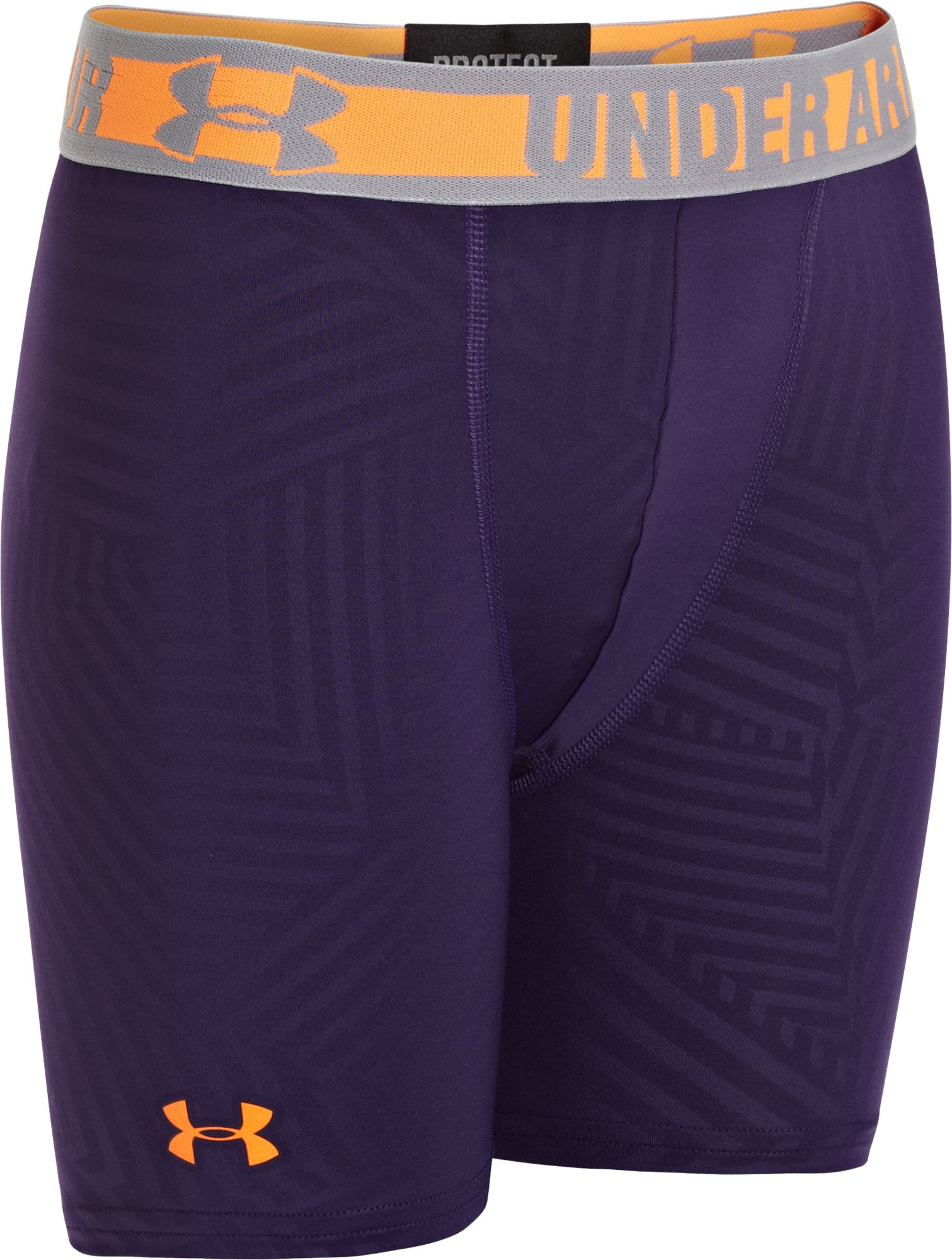 "Boys' HeatGear® Sonic 4"" Fitted Shorts, Purple, zoomed image"