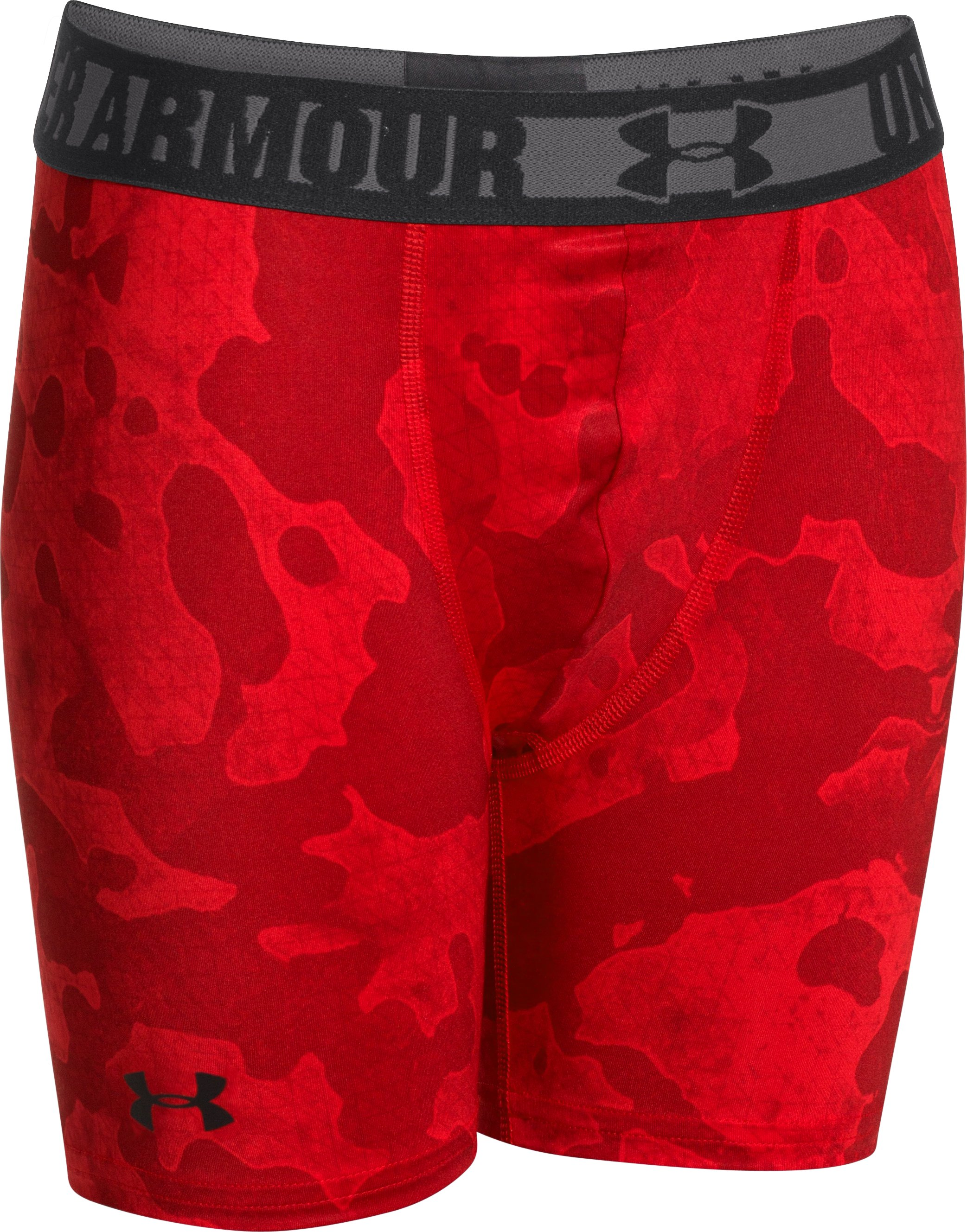 "Boys' HeatGear® Sonic 4"" Fitted Shorts, Red, zoomed image"