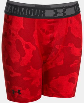 "New to Outlet Boys' HeatGear® Sonic 4"" Fitted Shorts   $14.99"