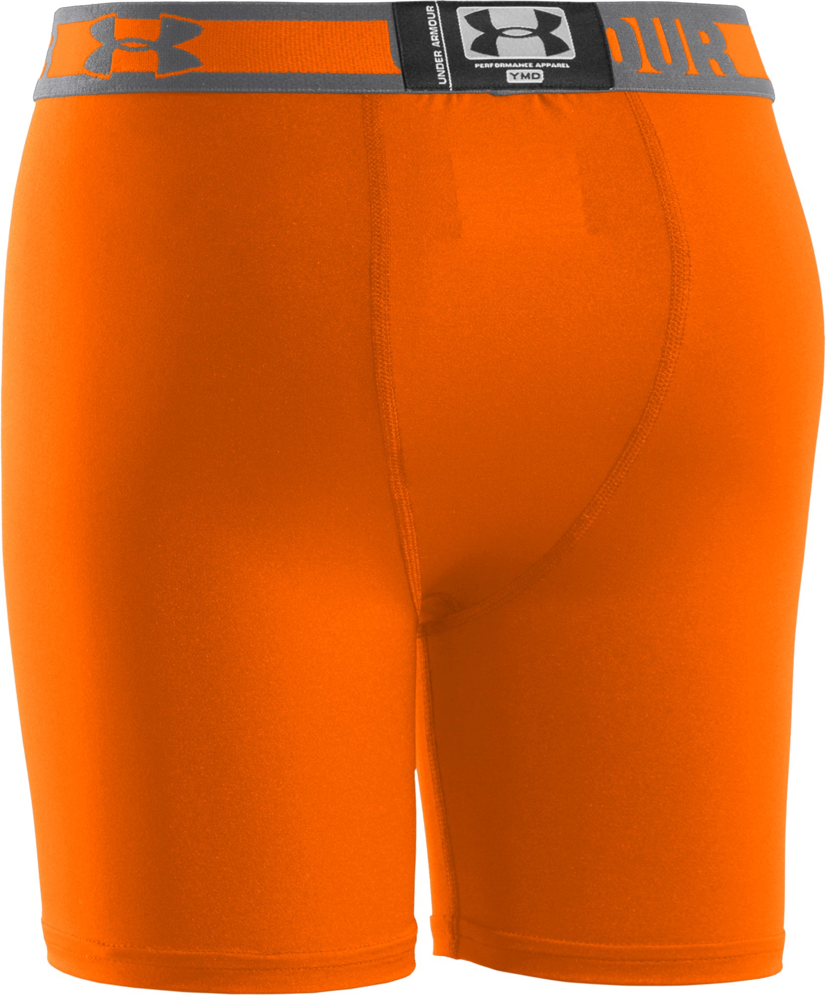"Boys' HeatGear® Sonic 4"" Fitted Shorts, Blaze Orange"