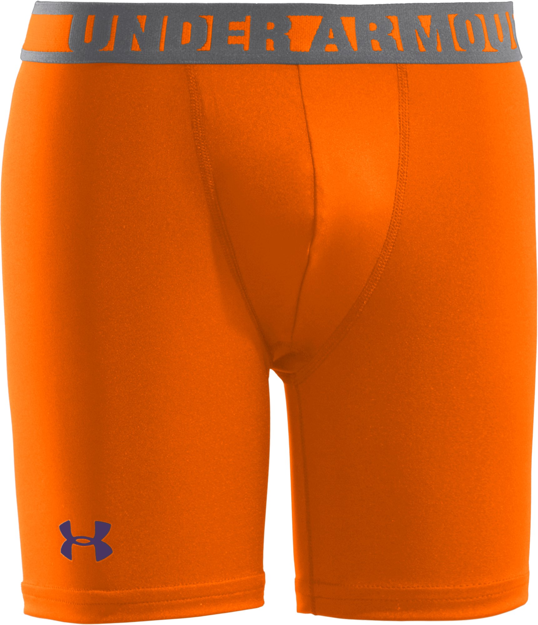 "Boys' HeatGear® Sonic 4"" Fitted Shorts, Blaze Orange, zoomed image"