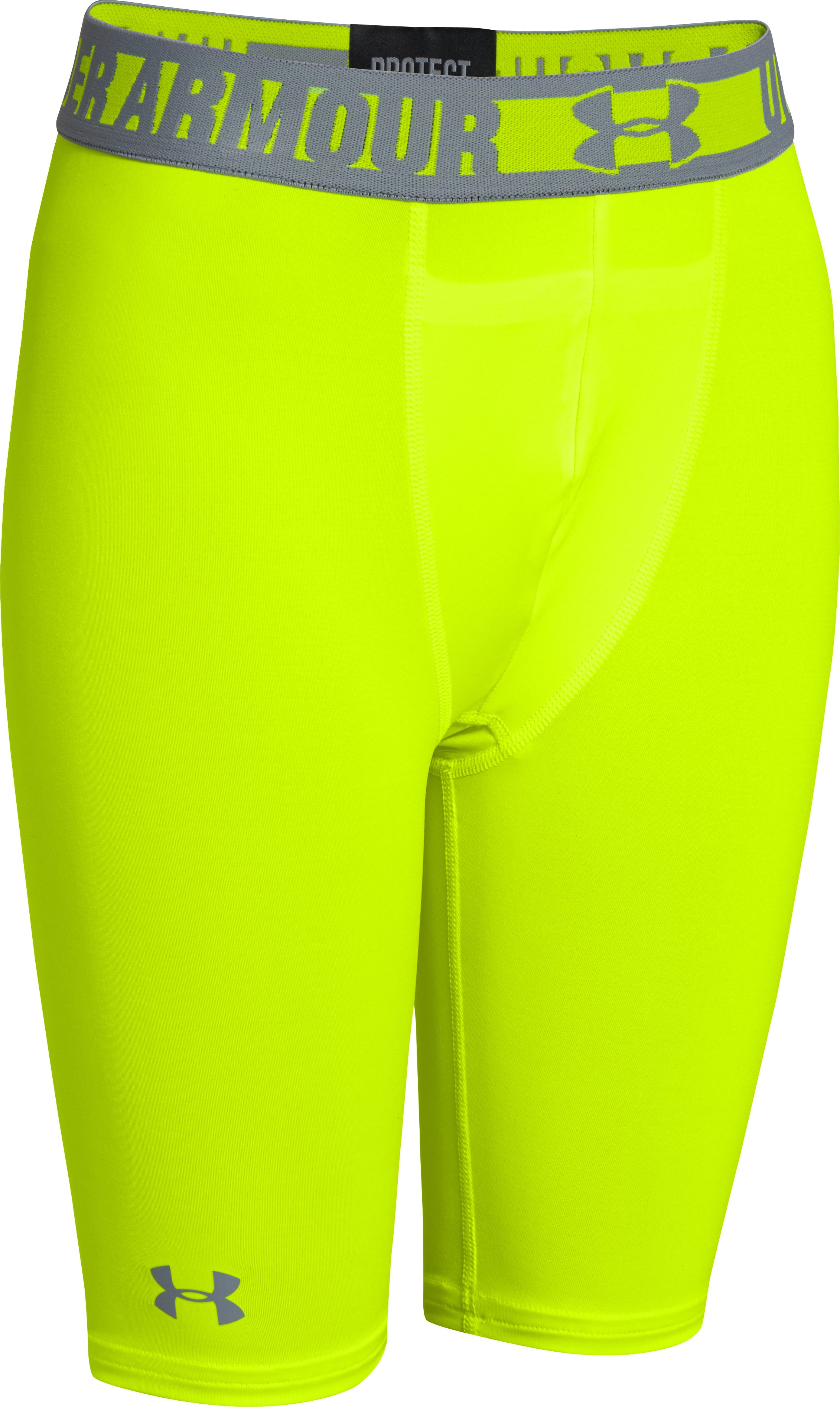 "Boys' HeatGear® Sonic 7"" Fitted Shorts, High-Vis Yellow, zoomed image"