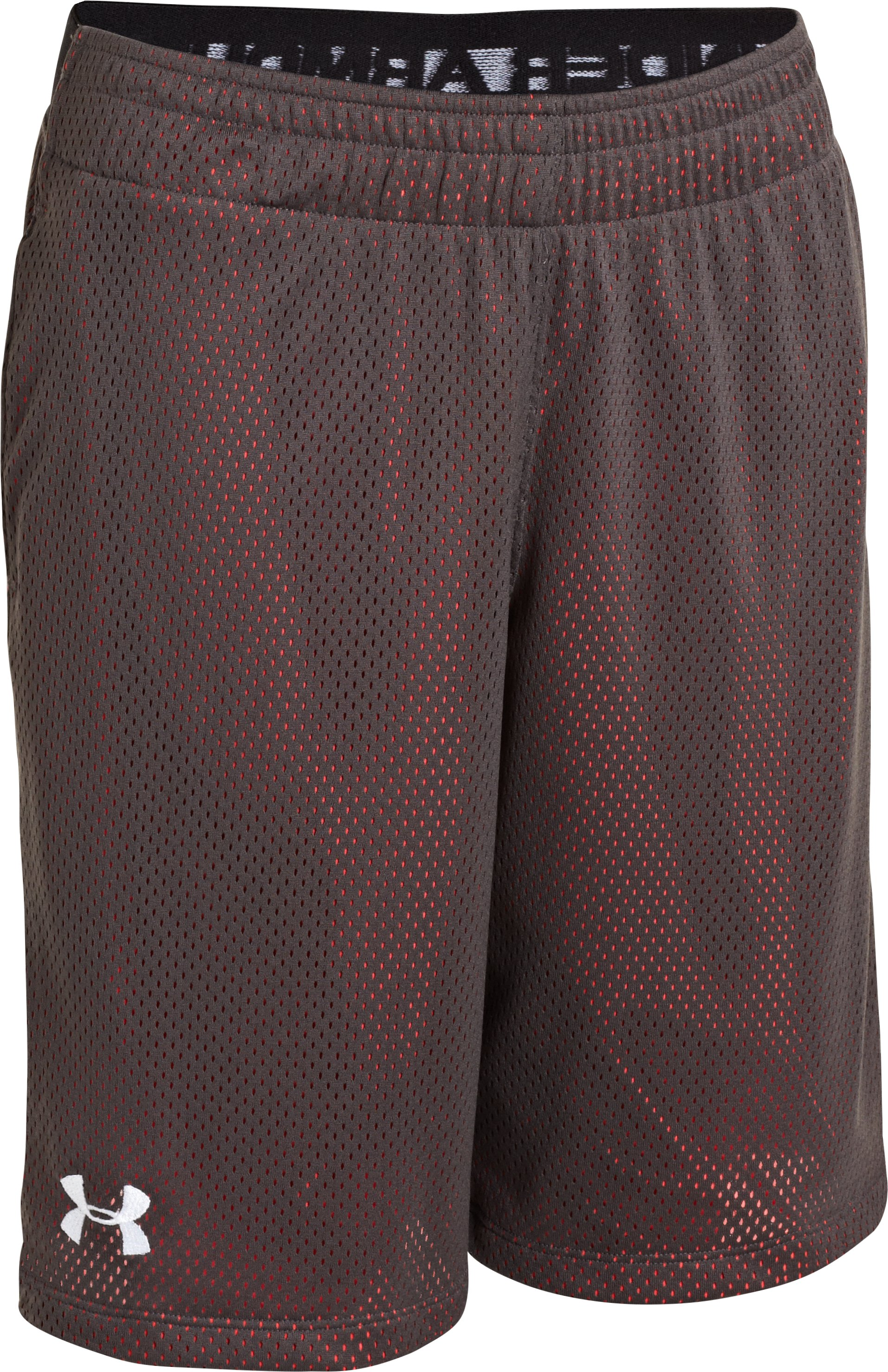 "Boys' UA Renegade 9"" Shorts, Charcoal, zoomed image"