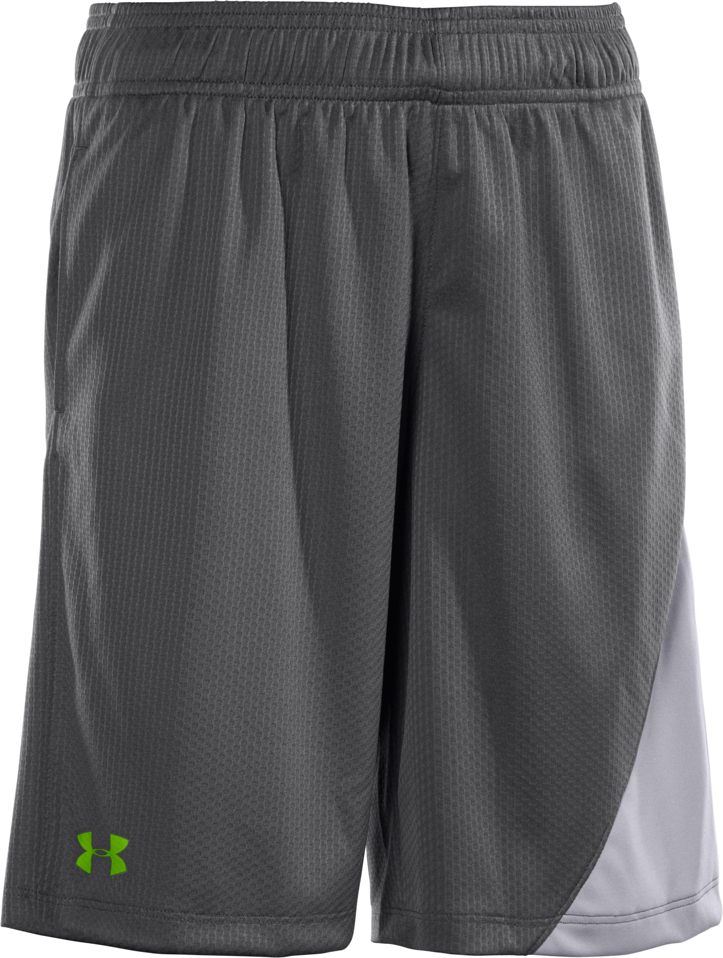Boys' UA Influencer Training Shorts, Graphite, zoomed image