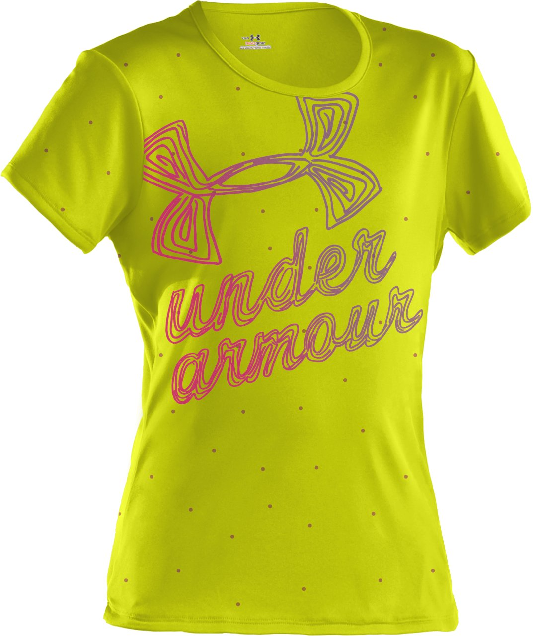 Girls' UA Speckle Script Graphic T-Shirt, High-Vis Yellow, zoomed image