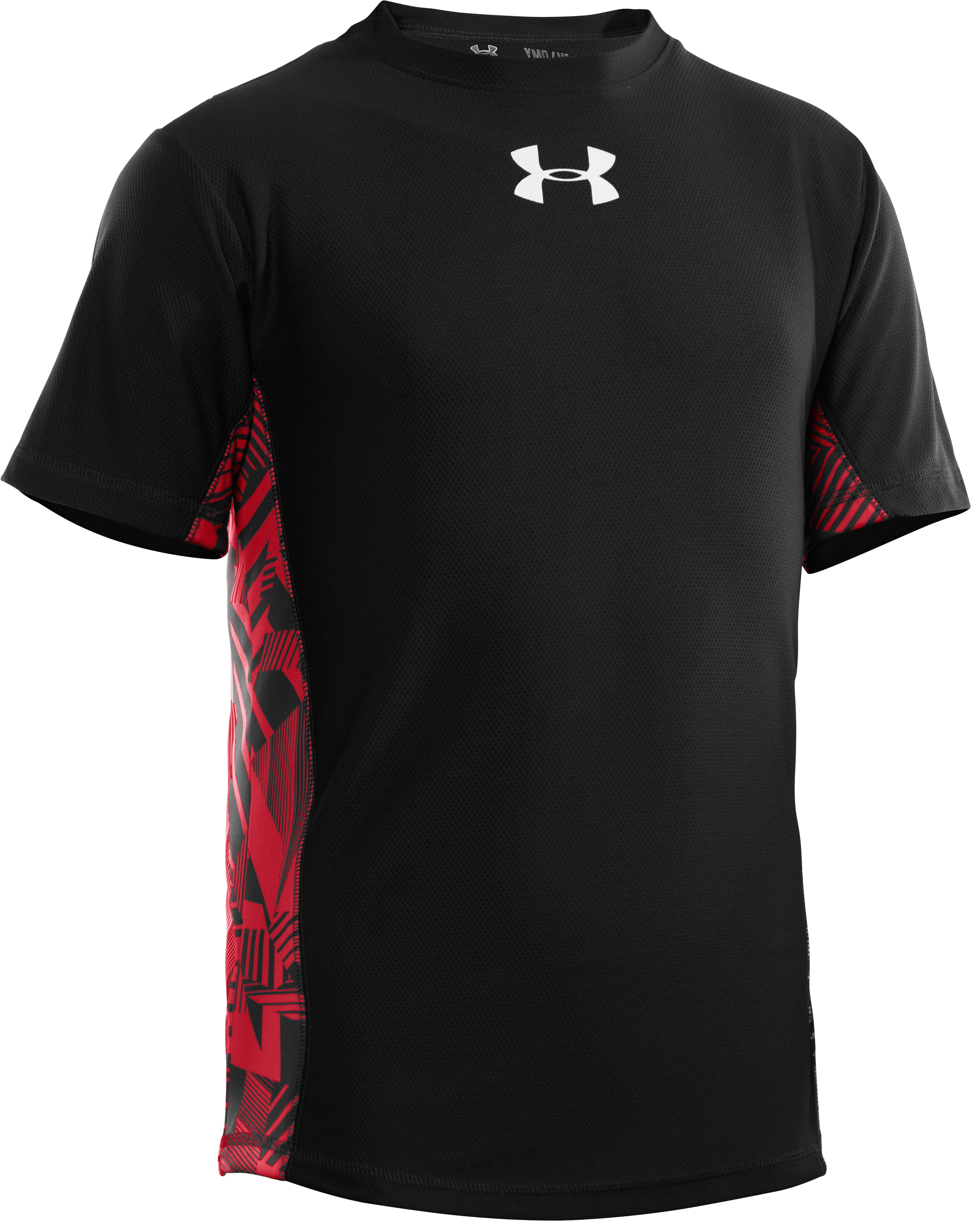 Boys' UA Domineer Short Sleeve, Black