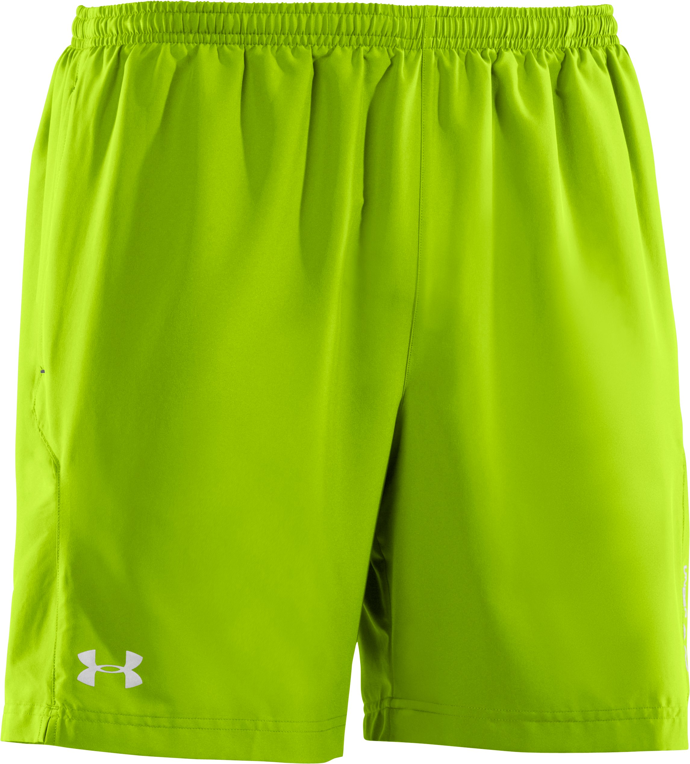 "Men's UA Escape 7"" Solid Run Shorts, HYPER GREEN"