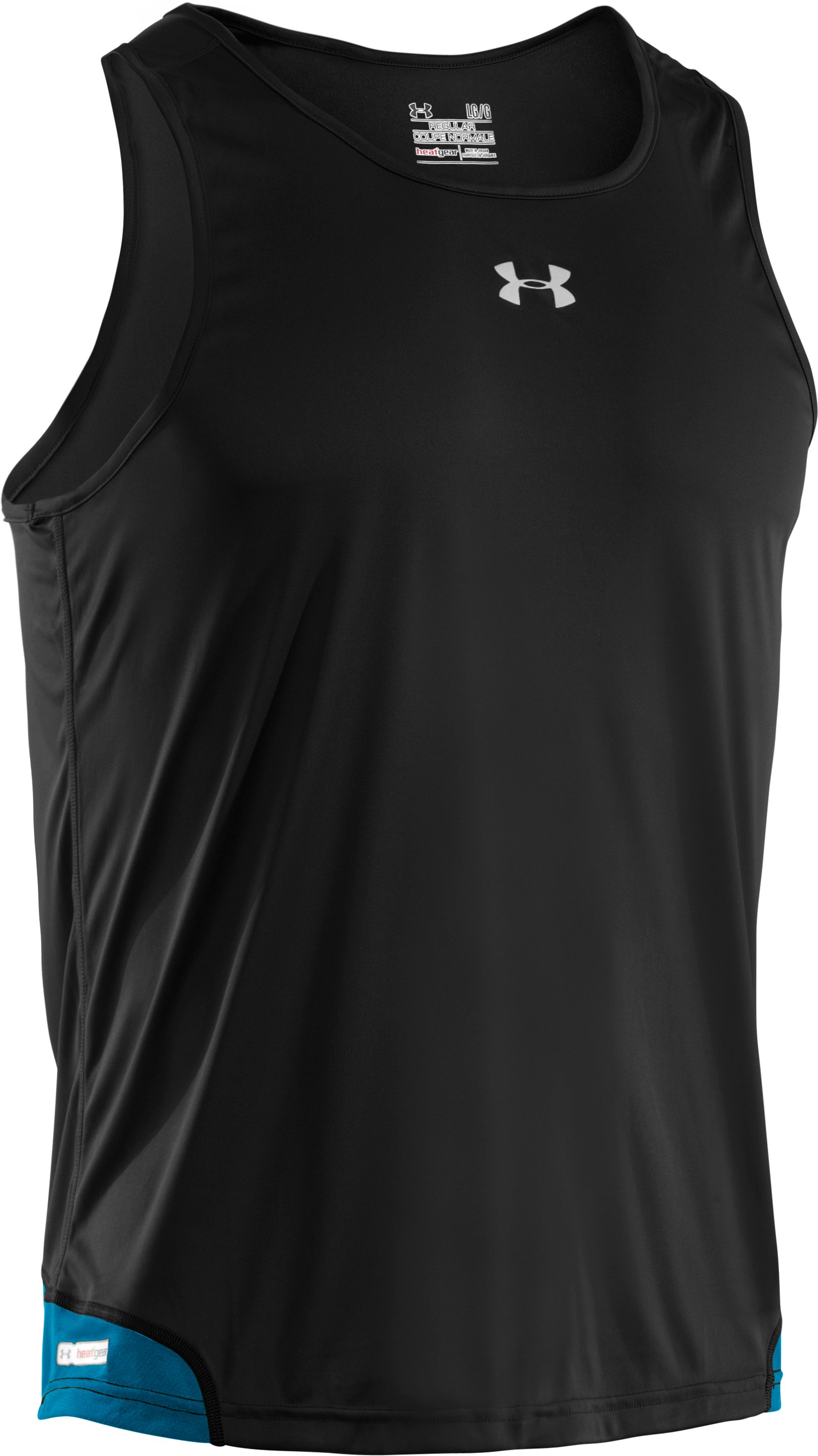 Men's HeatGear® Flyweight Run Singlet, Black , undefined