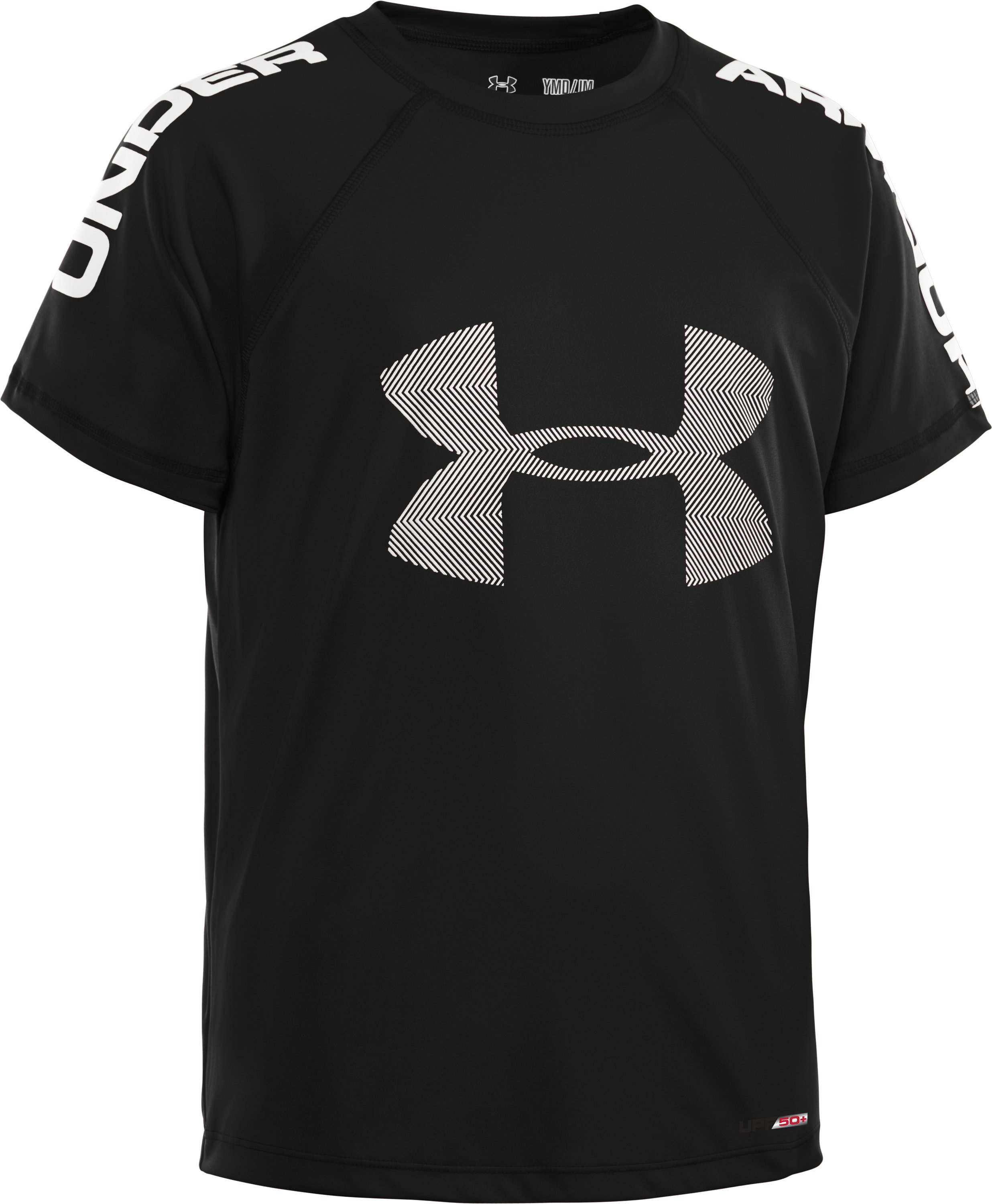 Boys' UA Ripping Sun-Activated Short Sleeve, Black , zoomed image
