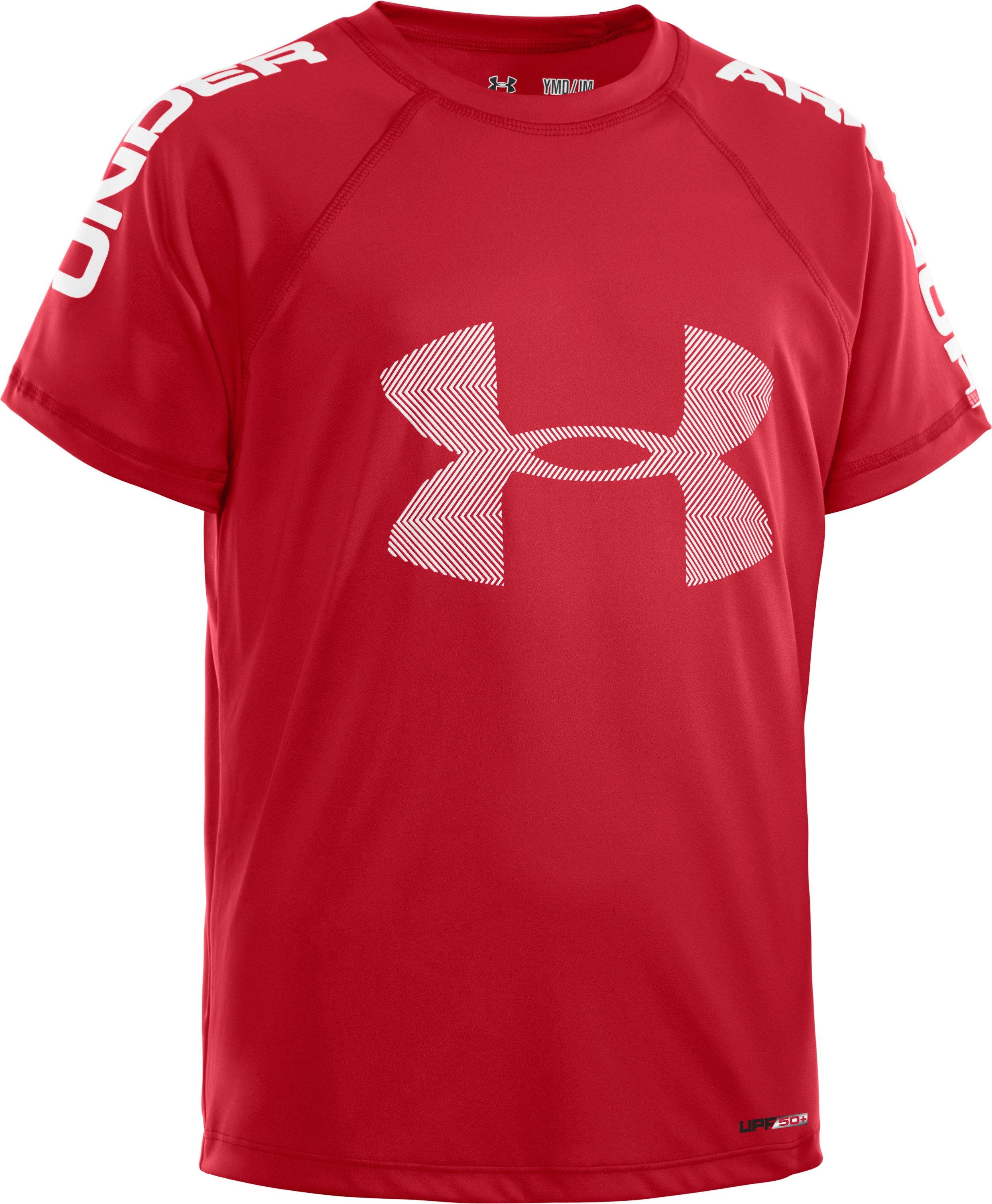 Boys' UA Ripping Sun-Activated Short Sleeve, Red, zoomed image
