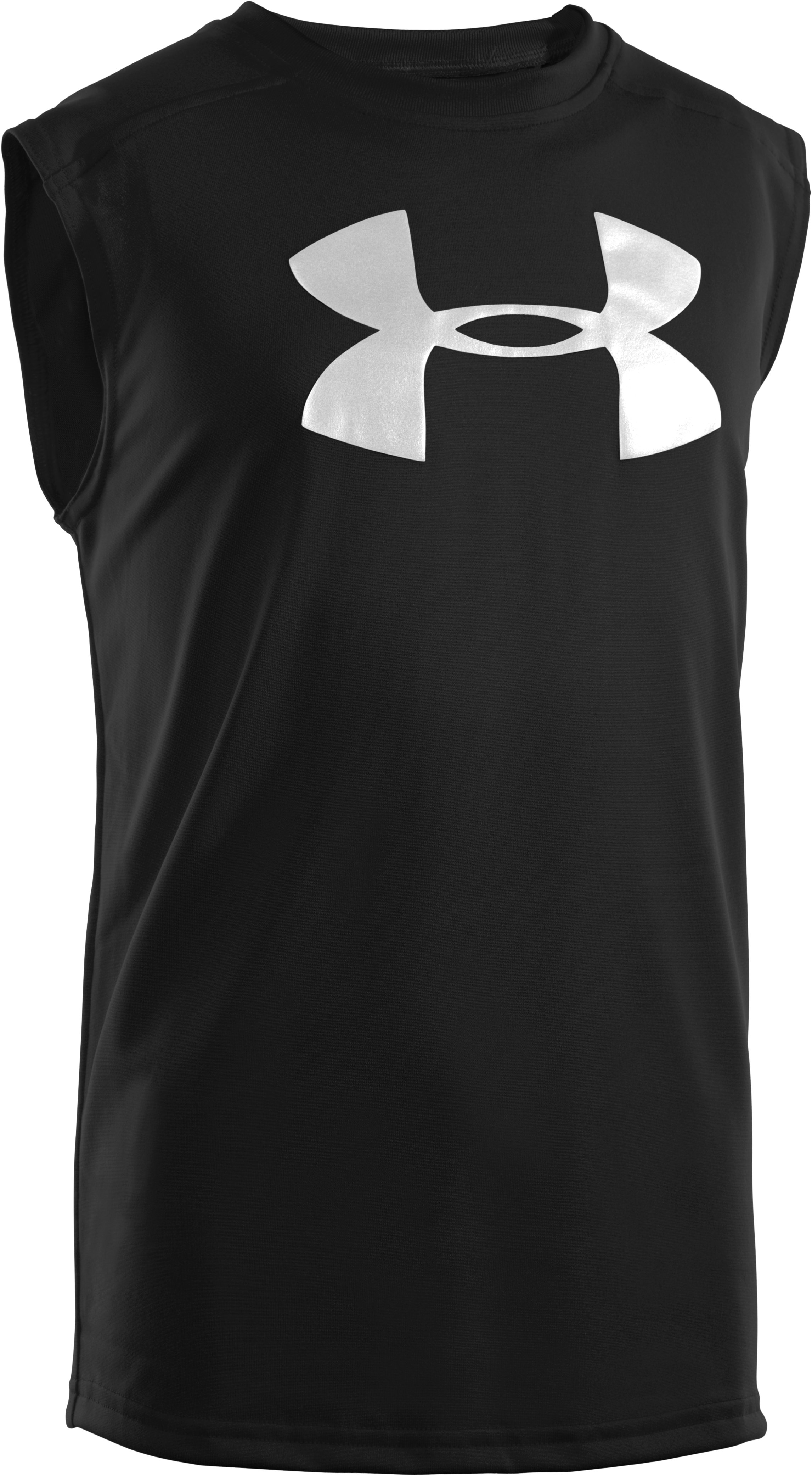 Boys' UA Tech™ Big Logo Sleeveless T-Shirt, Black , zoomed image