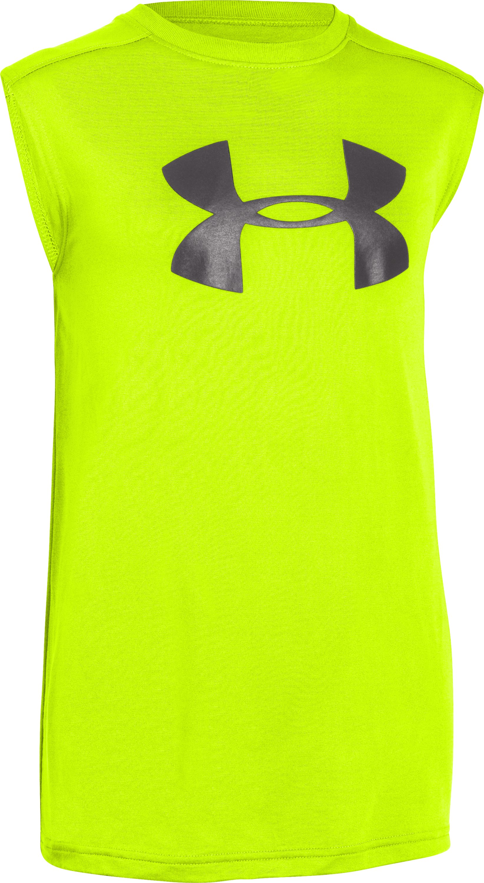 Boys' UA Tech™ Big Logo Sleeveless T-Shirt, High-Vis Yellow, zoomed image