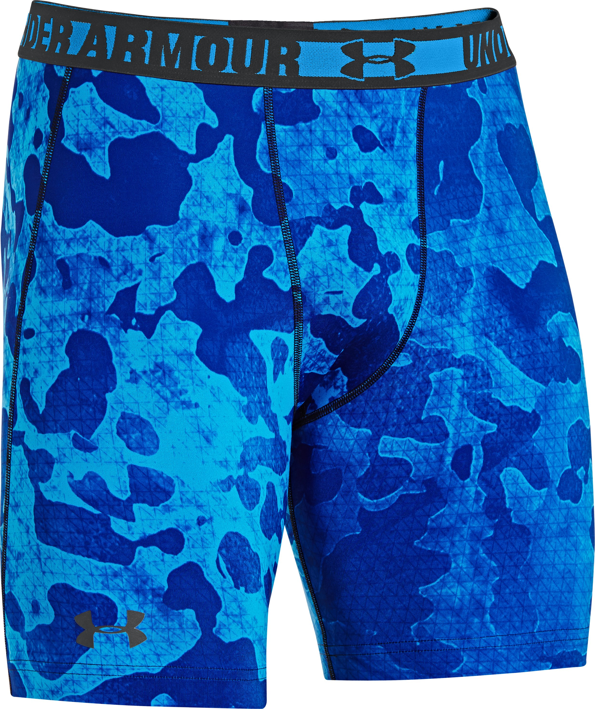 Men's HeatGear® Sonic Printed Compression Shorts, ELECTRIC BLUE